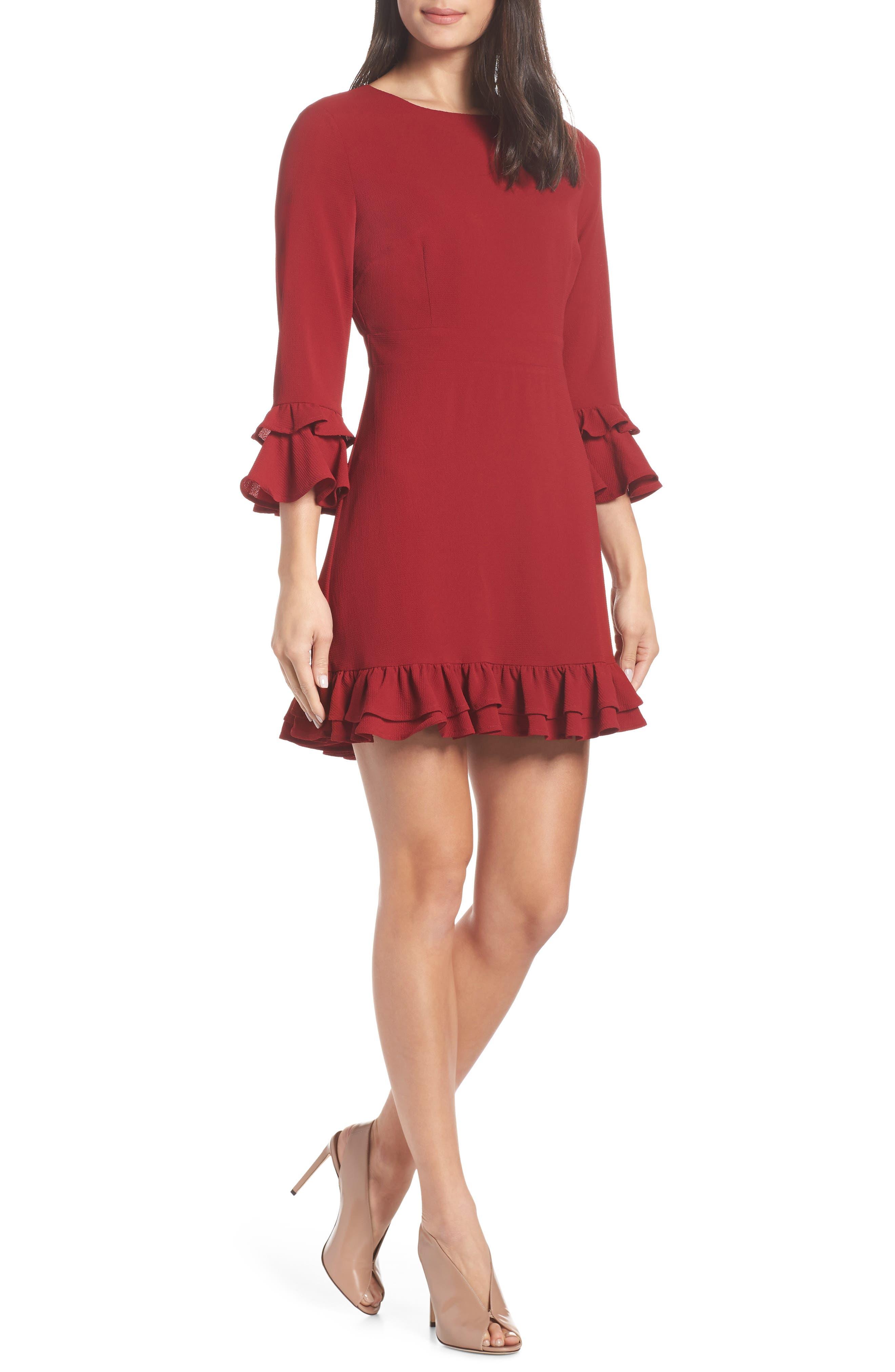 Bb Dakota Tiered Ruffle Trim Crepe Dress