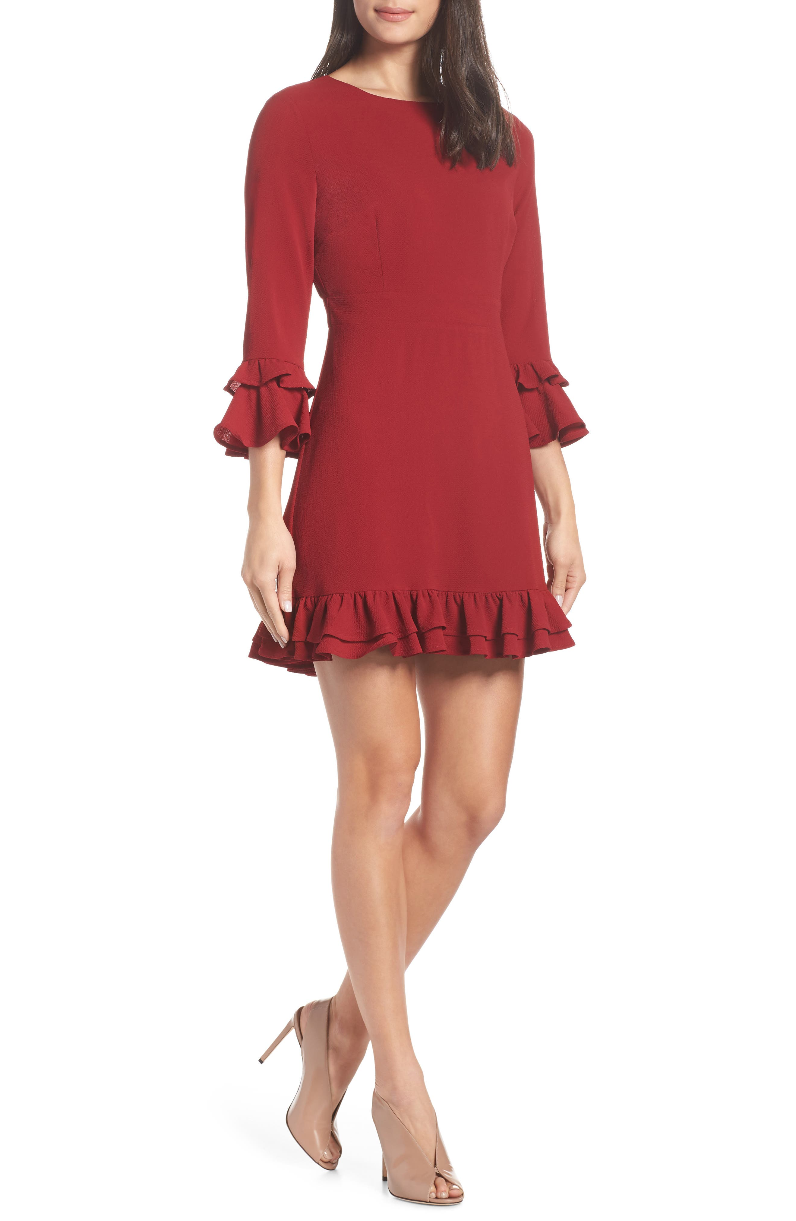 Tiered Ruffle Trim Crepe Dress,                             Main thumbnail 1, color,                             ROUGE