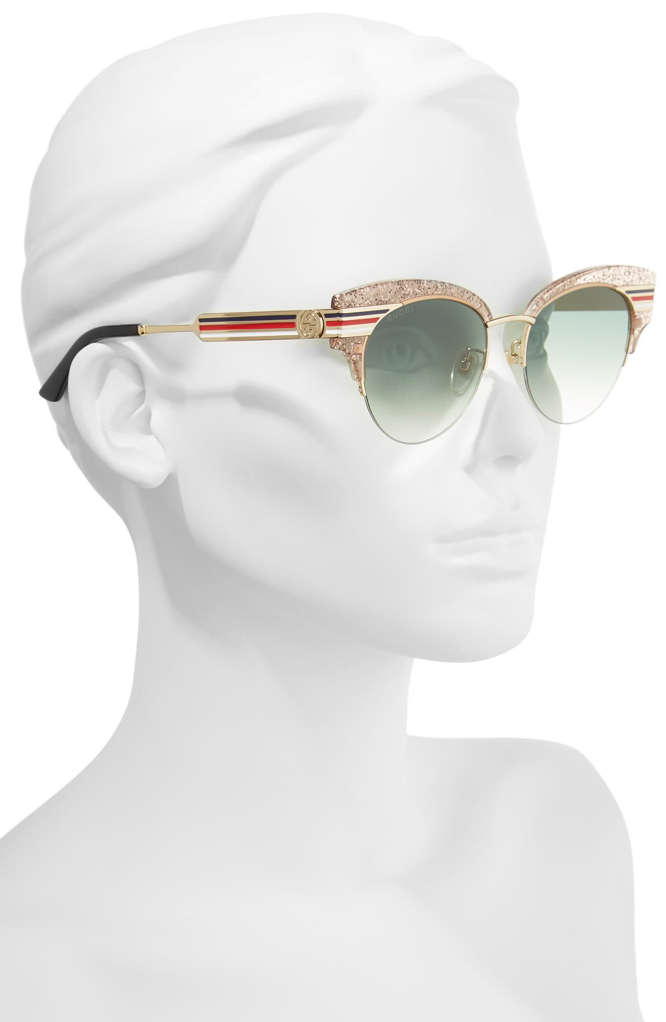 53mm Cat Eye Sunglasses,                             Alternate thumbnail 2, color,                             NUDE/ GOLD/ BLACK