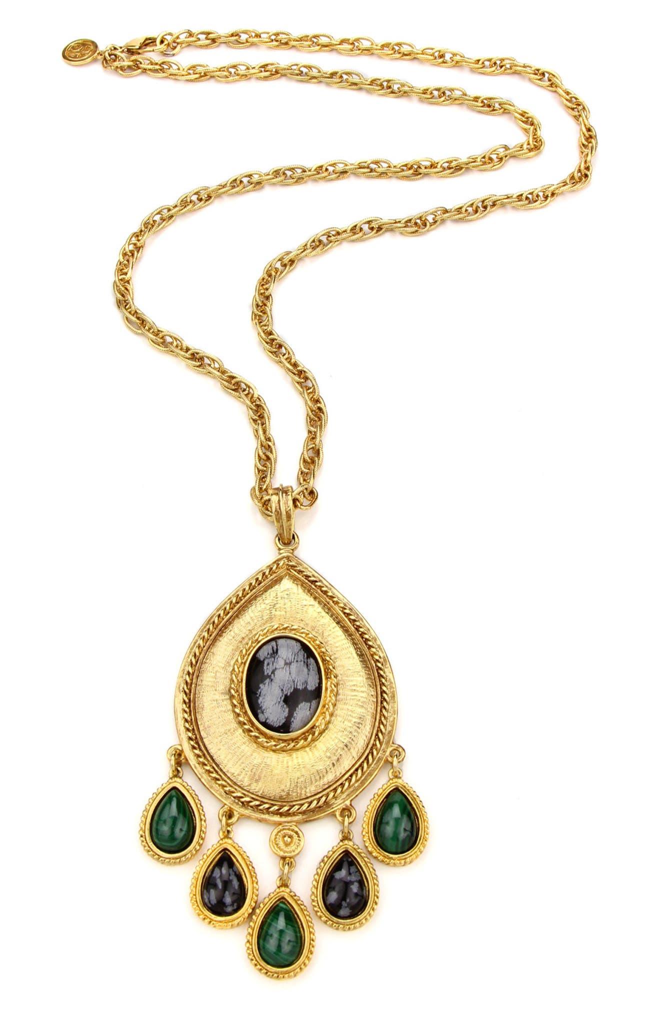 Multicolor Stone Long Teardrop Pendant Necklace, Main, color, 710