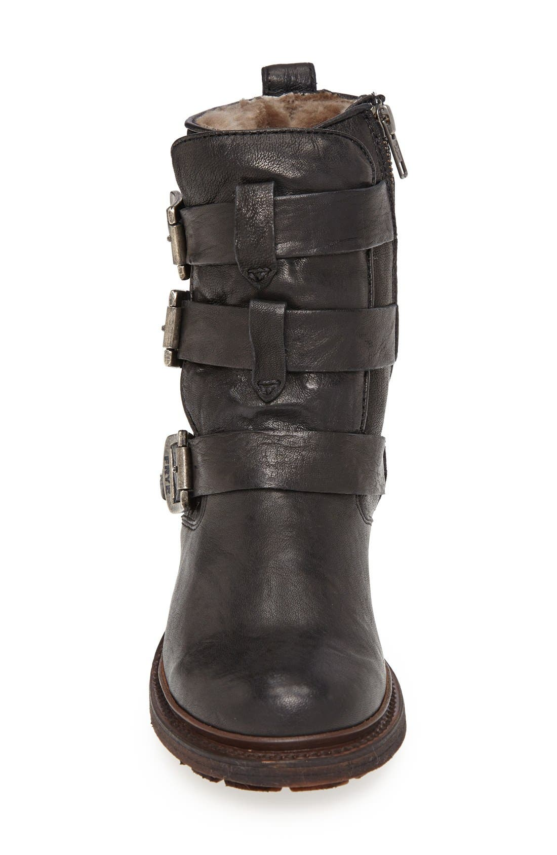 'Valerie' Shearling Lined Strappy Boot,                             Alternate thumbnail 3, color,                             001