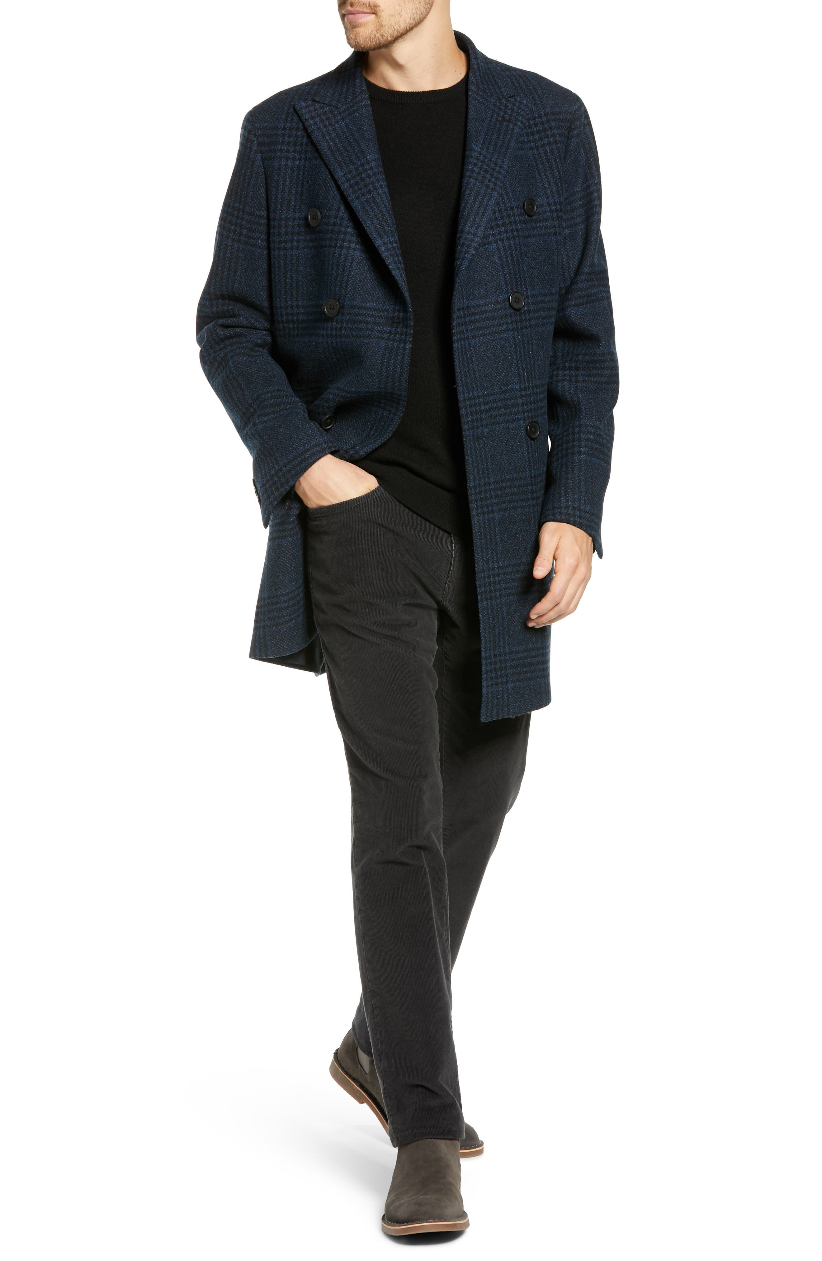 Jackson Extra Trim Fit Wool Overcoat,                             Alternate thumbnail 4, color,                             NAVY