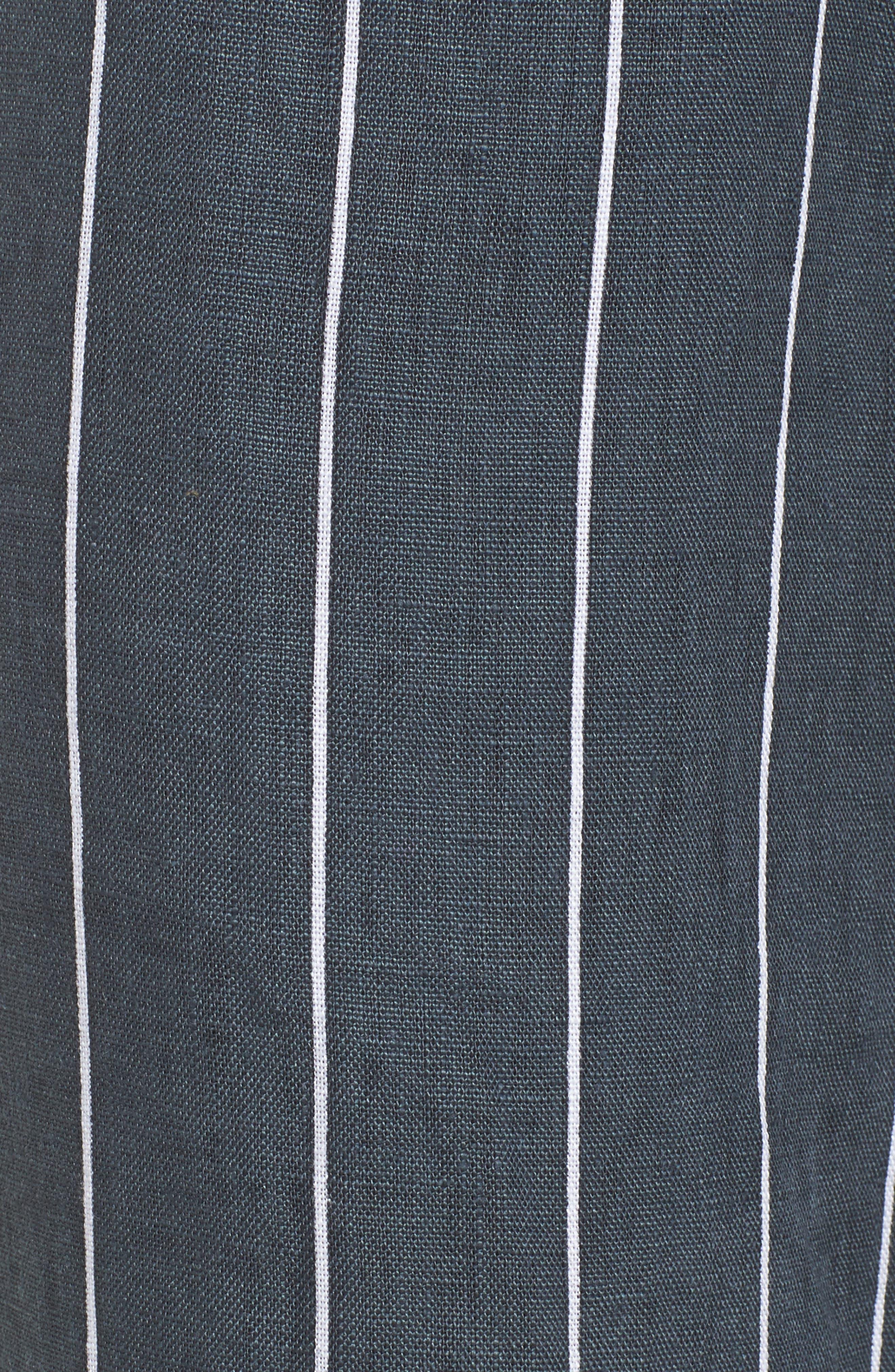 Como Pinstripe Wide Leg Crop Linen Pants,                             Alternate thumbnail 5, color,                             CHARCOAL