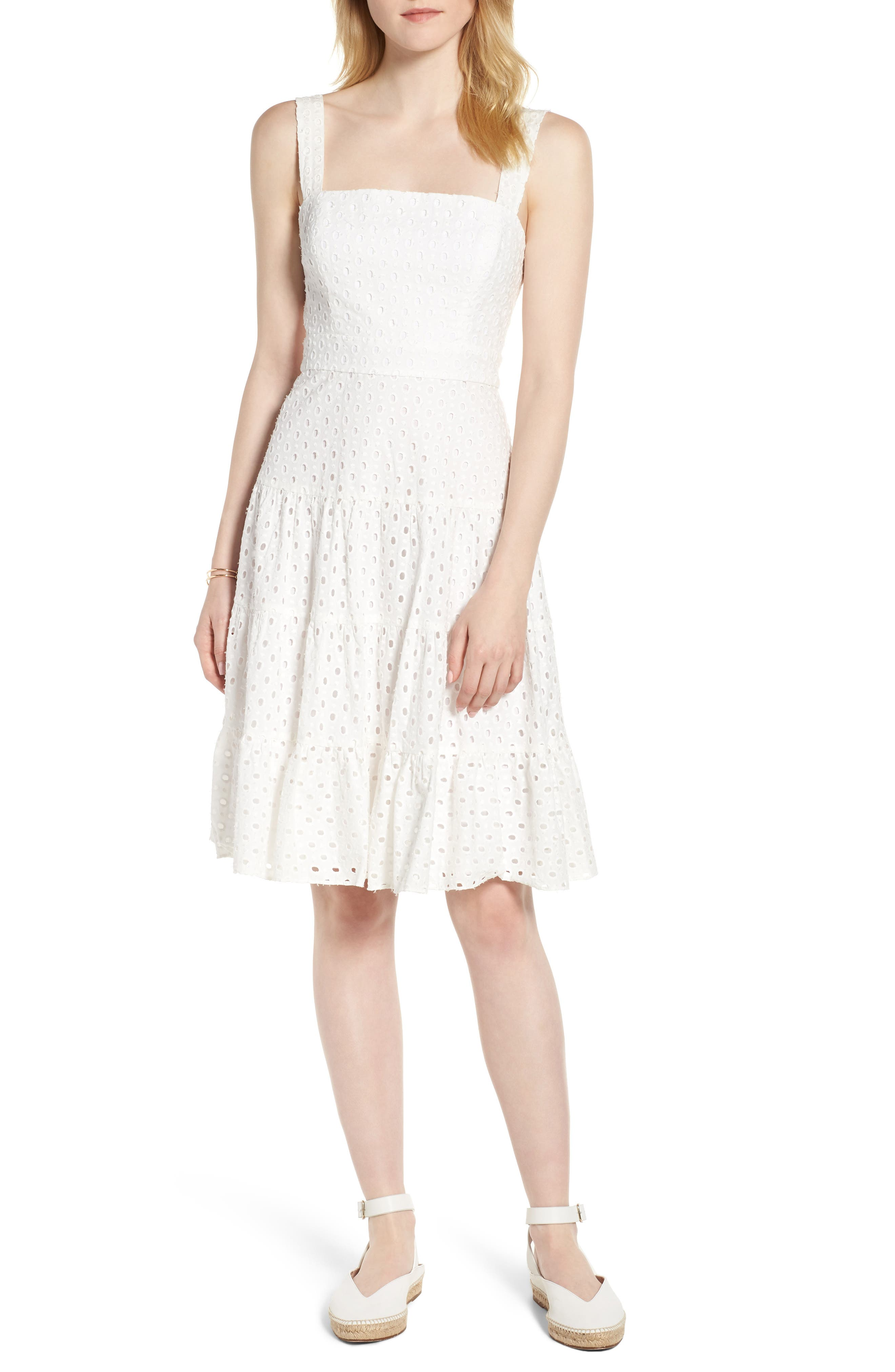 Eyelet Fit & Flare Dress,                         Main,                         color, 100