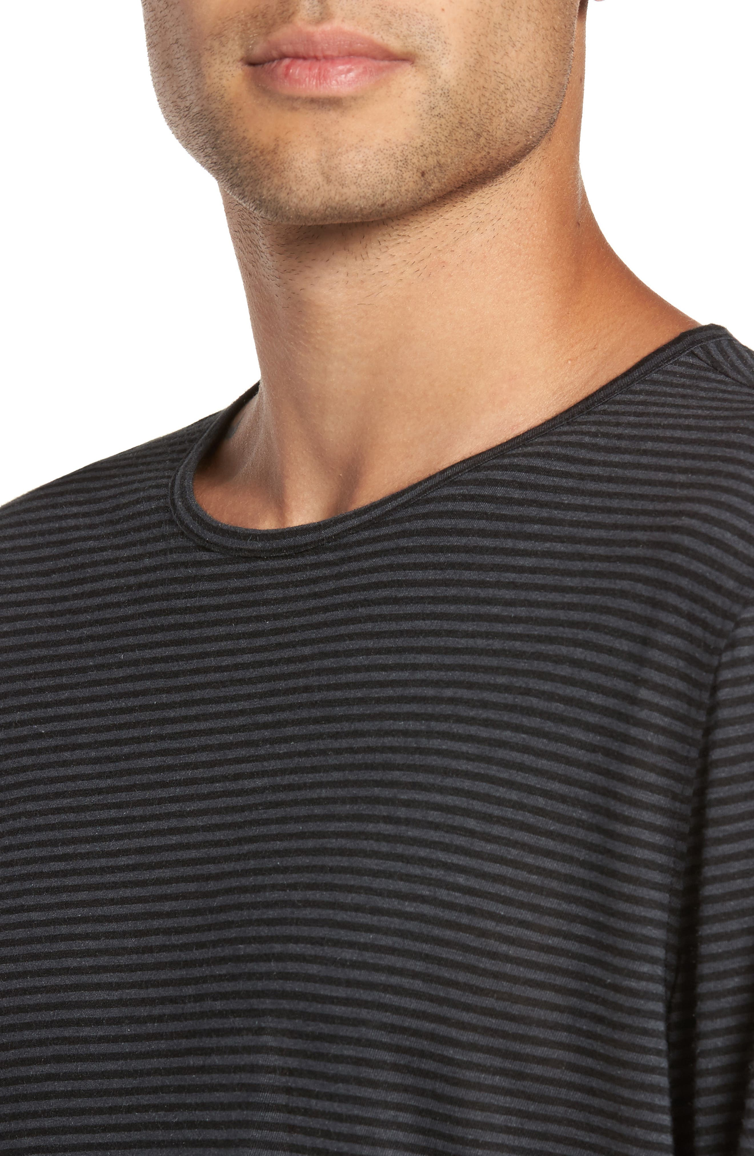 Stripe Long Sleeve T-Shirt,                             Alternate thumbnail 4, color,                             001