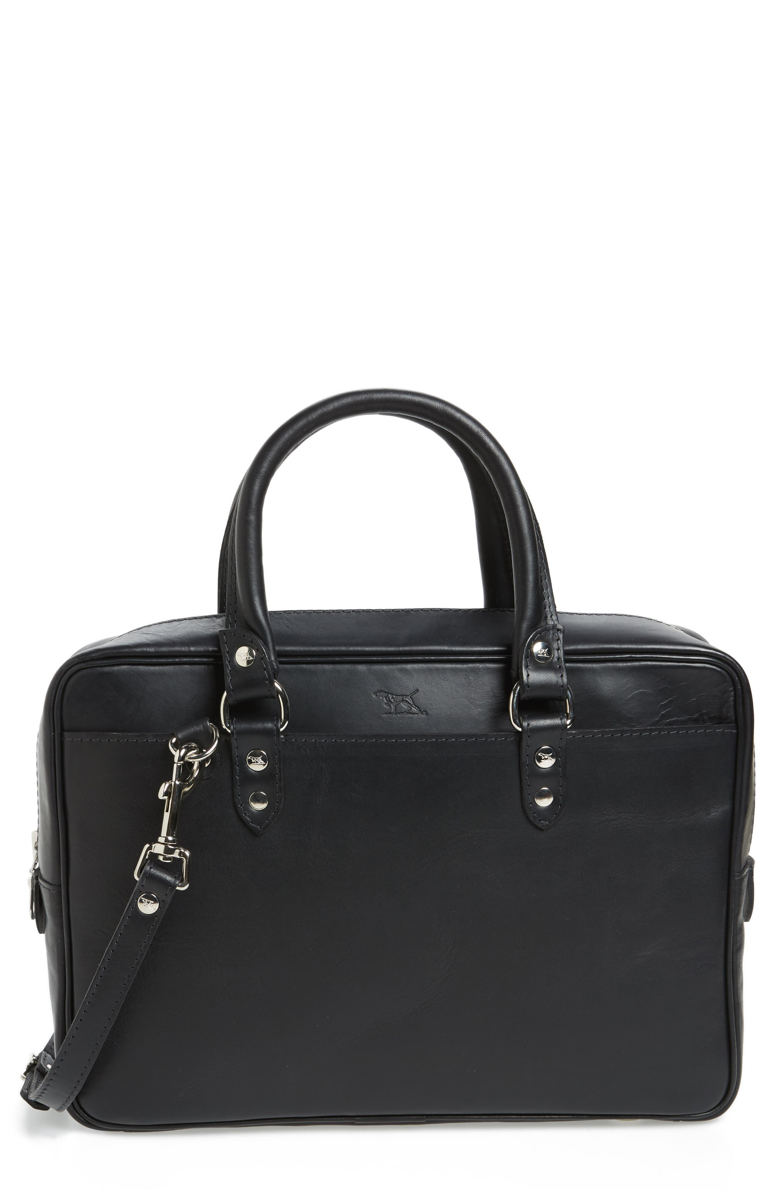 New Roxburgh Leather Briefcase,                             Main thumbnail 1, color,                             NERO