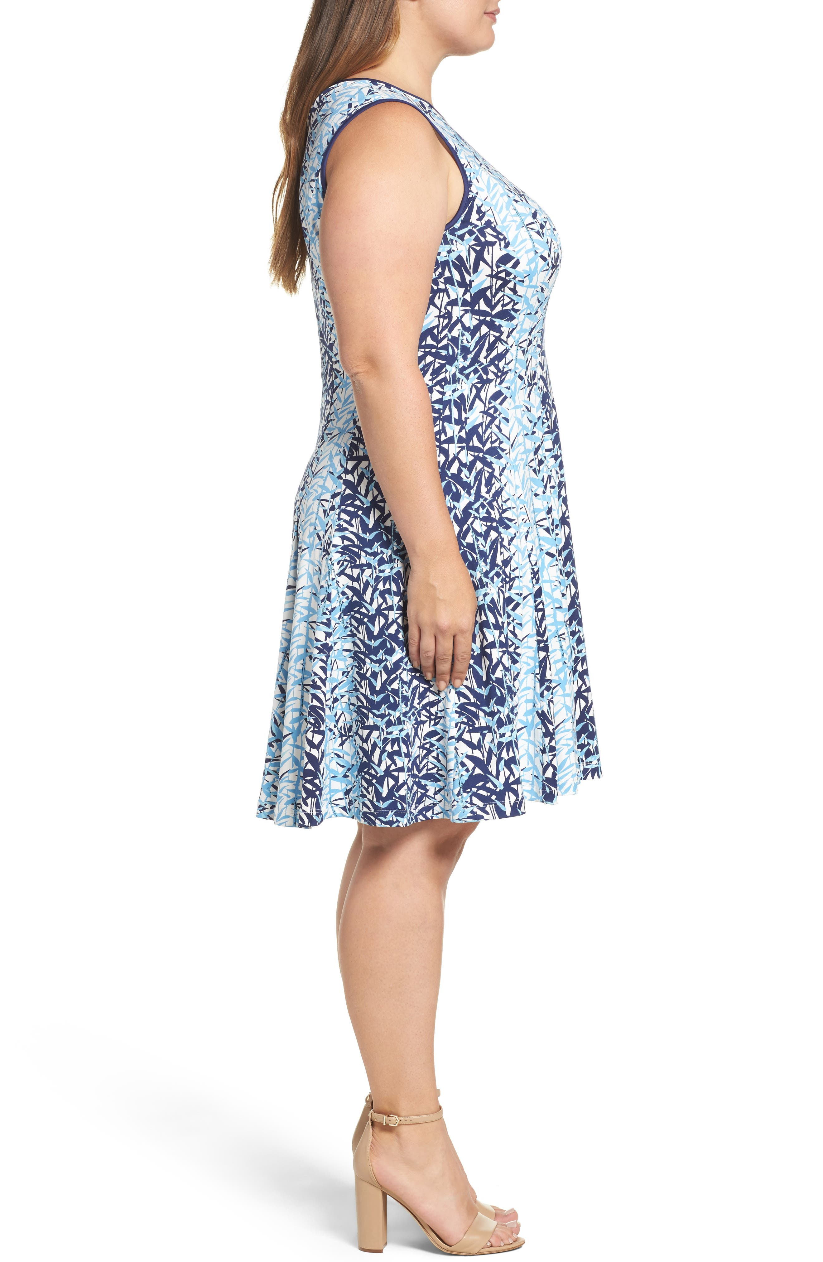 Abstract Print Jersey Fit & Flare Dress,                             Alternate thumbnail 3, color,                             410