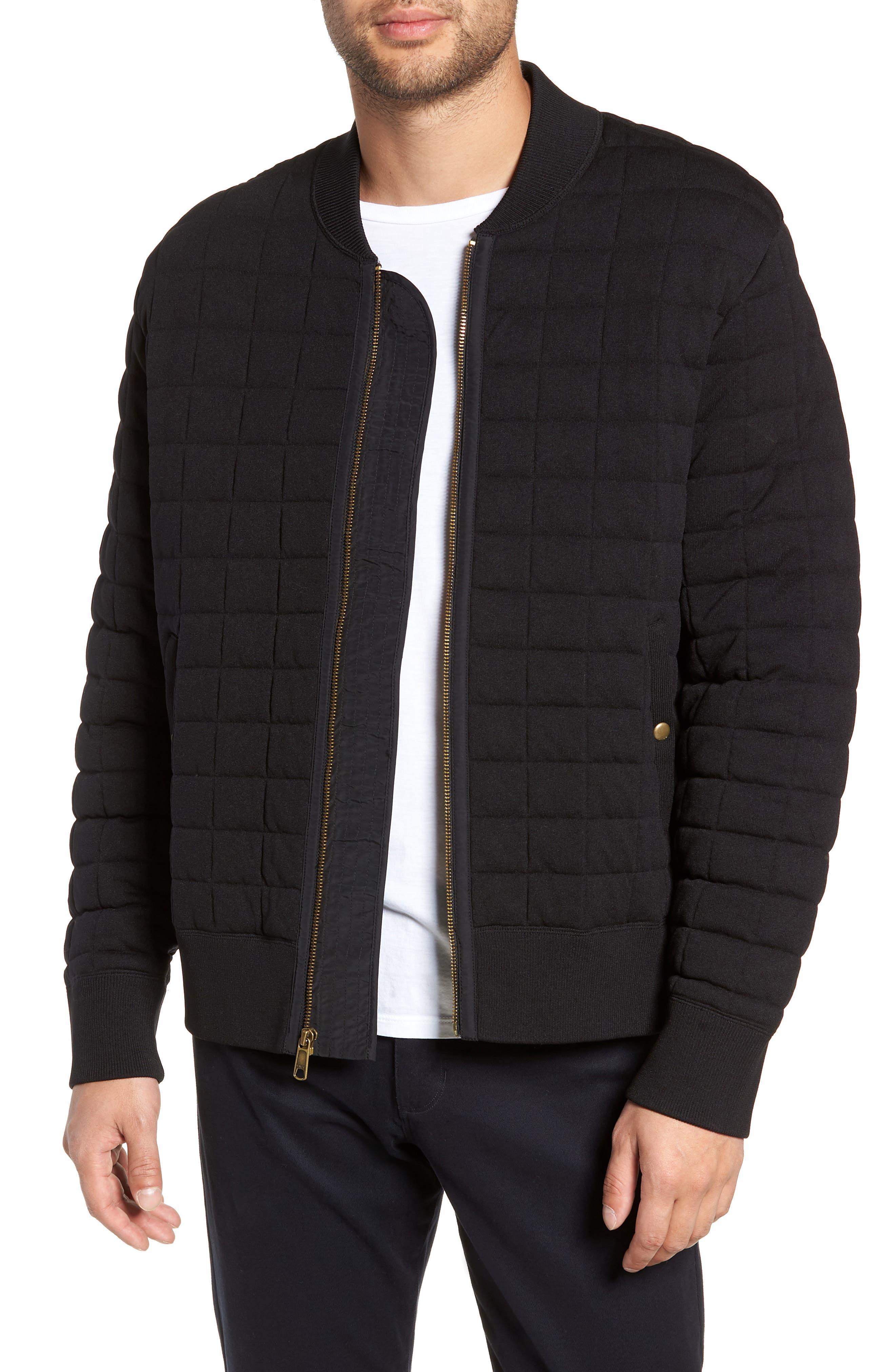 Quilted Bomber Jacket,                             Main thumbnail 1, color,                             001