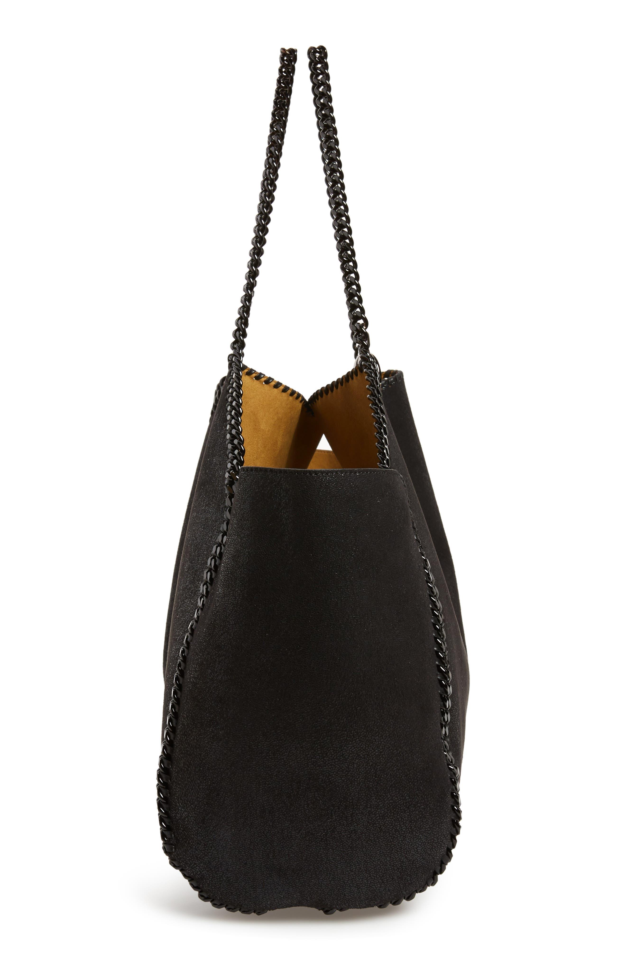 Reversible Faux Leather Tote,                             Alternate thumbnail 6, color,                             BLACK