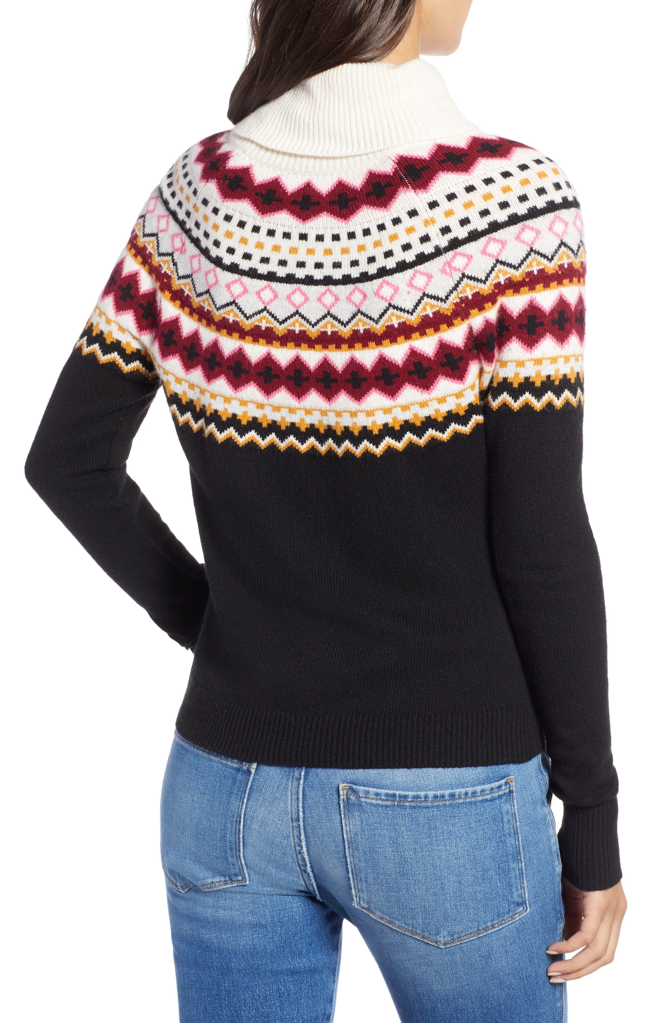 Fair Isle Turtleneck Sweater,                             Alternate thumbnail 2, color,                             001