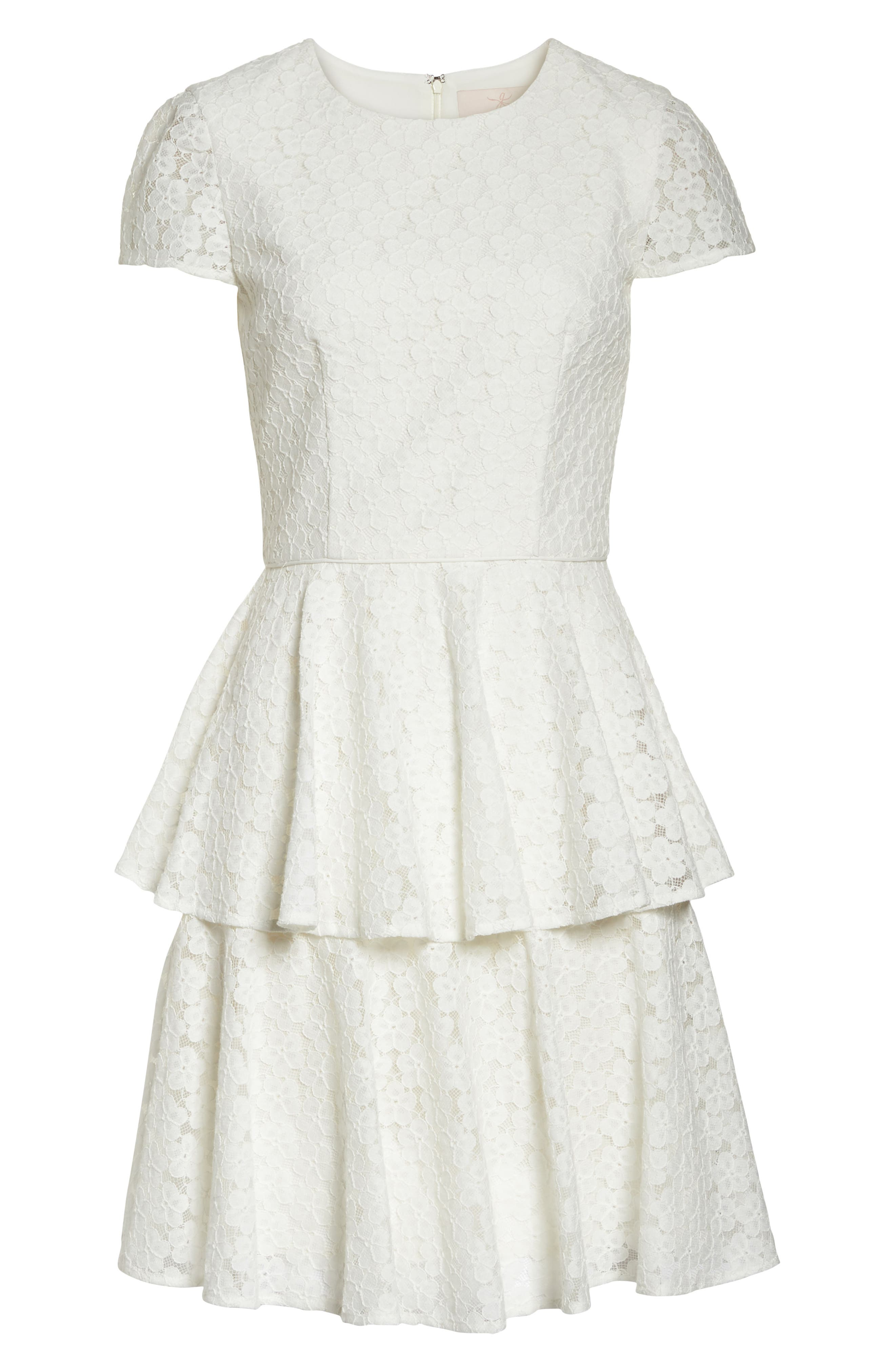 Daisy Lace Tiered Fit & Flare Dress,                             Alternate thumbnail 7, color,                             120