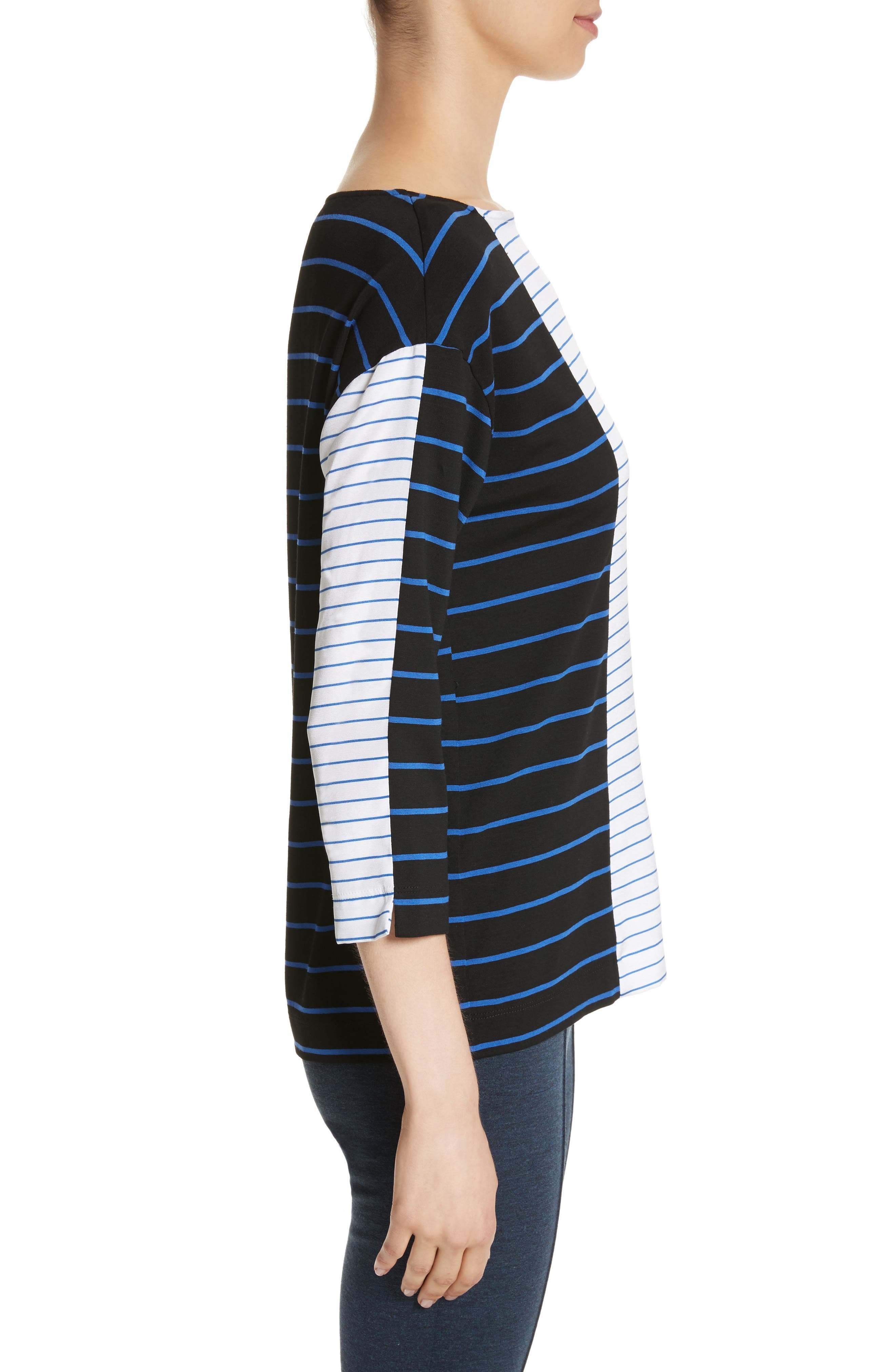 Yarn Dyed Stripe Jersey Top,                             Alternate thumbnail 3, color,                             001