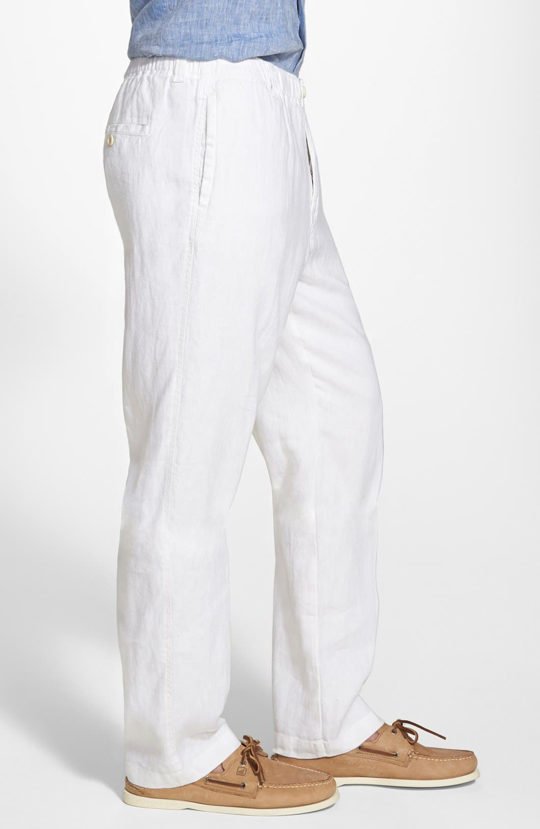 'New Linen on the Beach' Easy Fit Pants,                             Alternate thumbnail 3, color,                             100