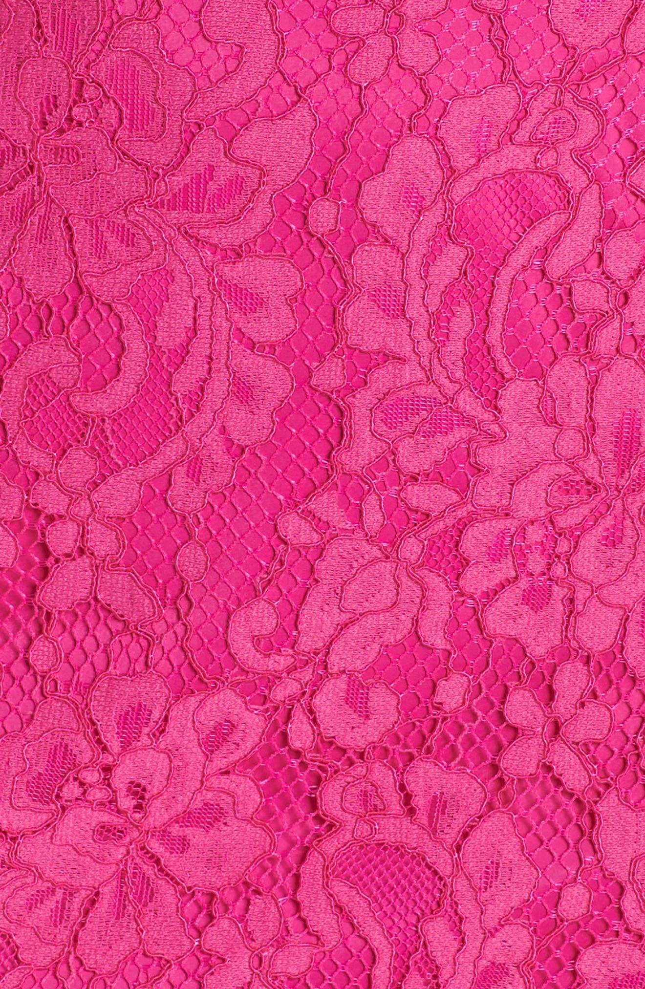 Azul Scallop Hem Off the Shoulder Lace Dress,                             Alternate thumbnail 6, color,                             BRILLIANT FUCHSIA