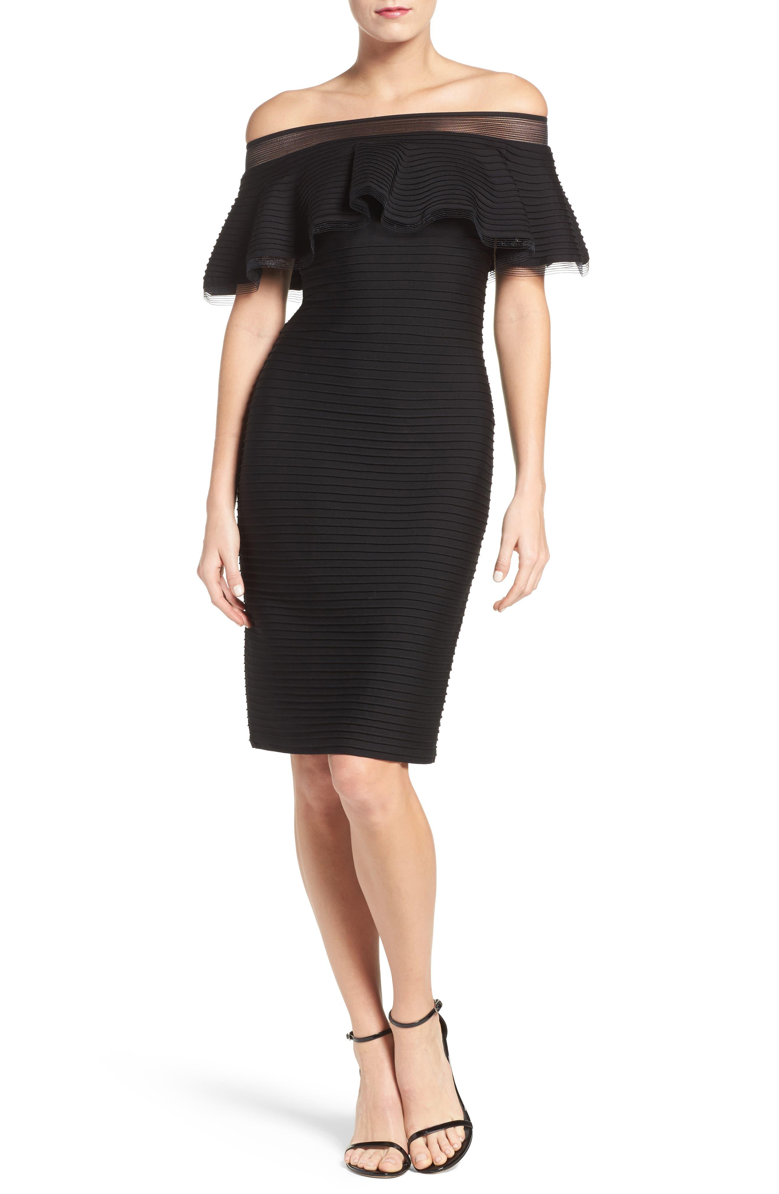 Jersey Sheath Dress,                             Alternate thumbnail 5, color,                             001
