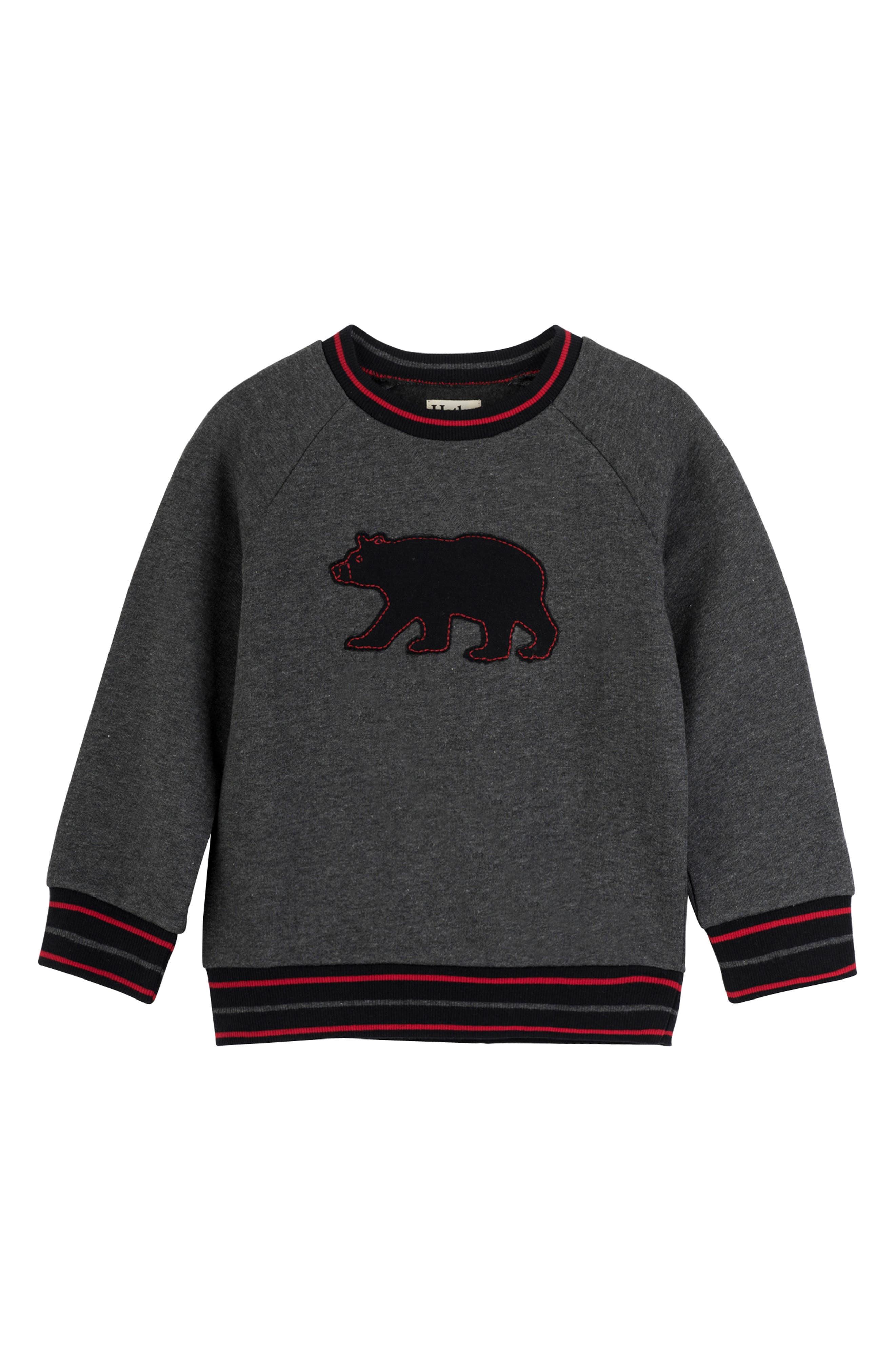 Bear Sweatshirt,                         Main,                         color, BLACK BEAR