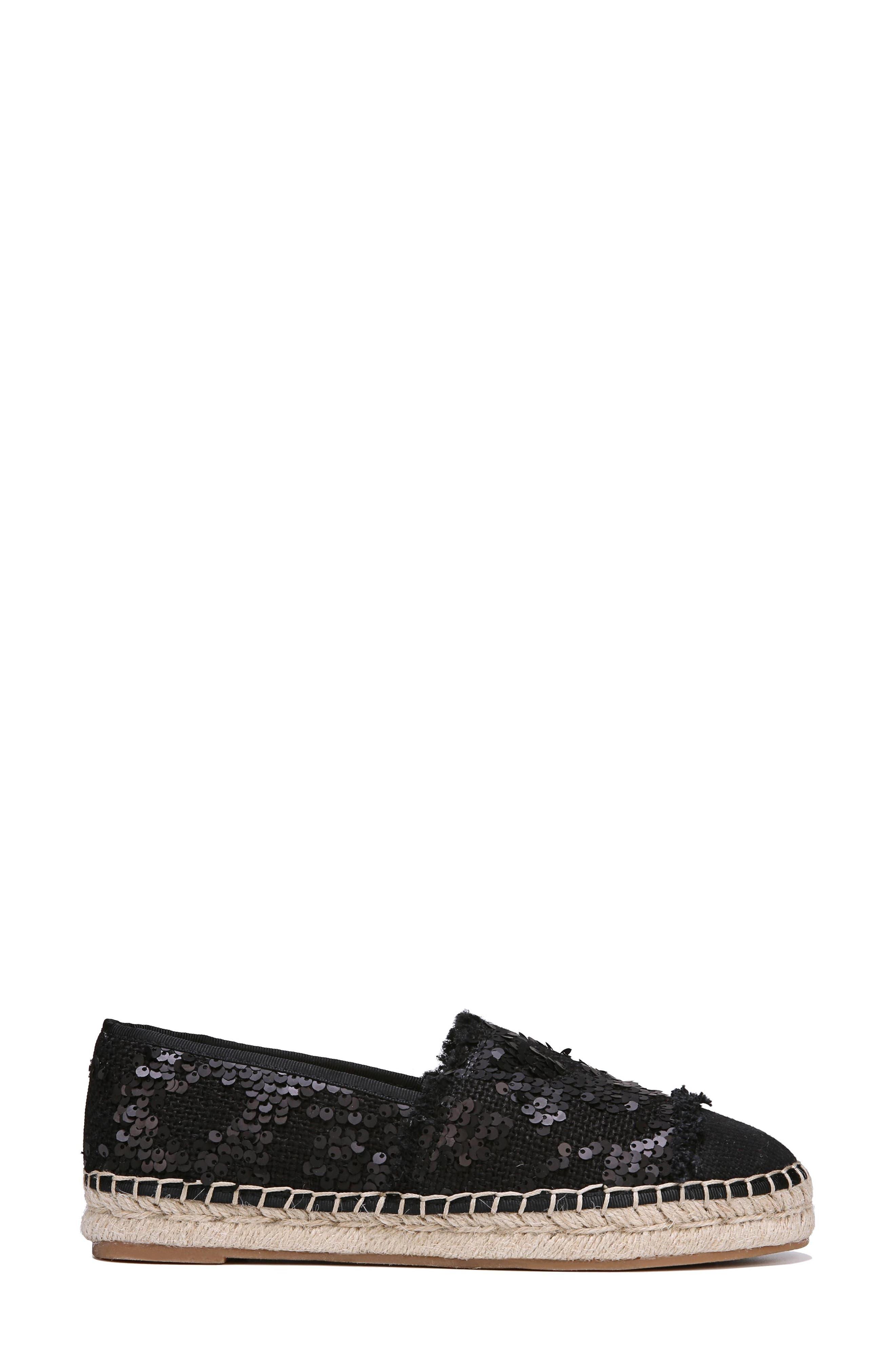 Krissy Espadrille Flat,                             Alternate thumbnail 3, color,                             BLACK SEQUIN FABRIC