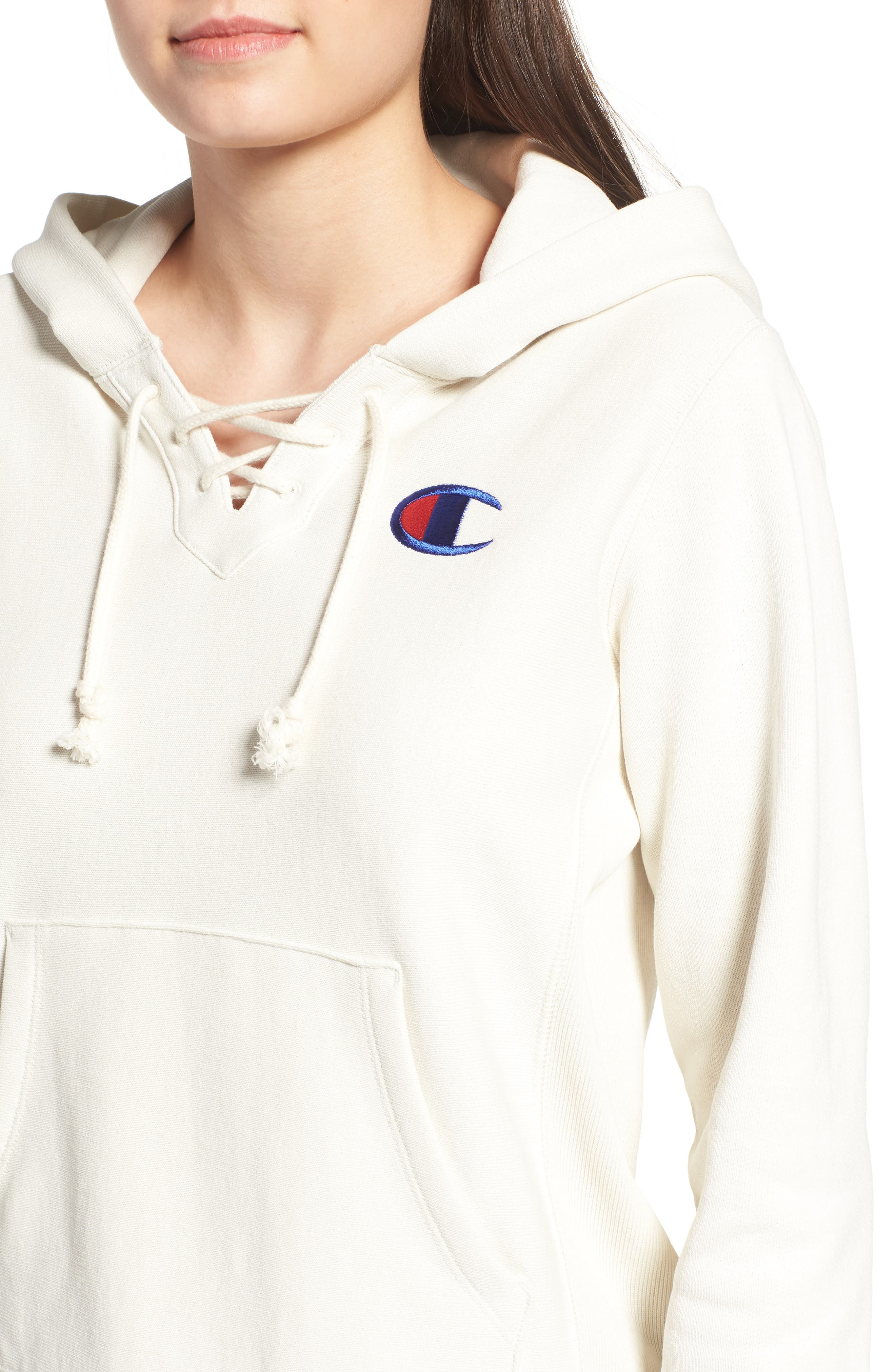 CHAMPION,                             Lace-Up Terry Hoodie,                             Alternate thumbnail 4, color,                             110
