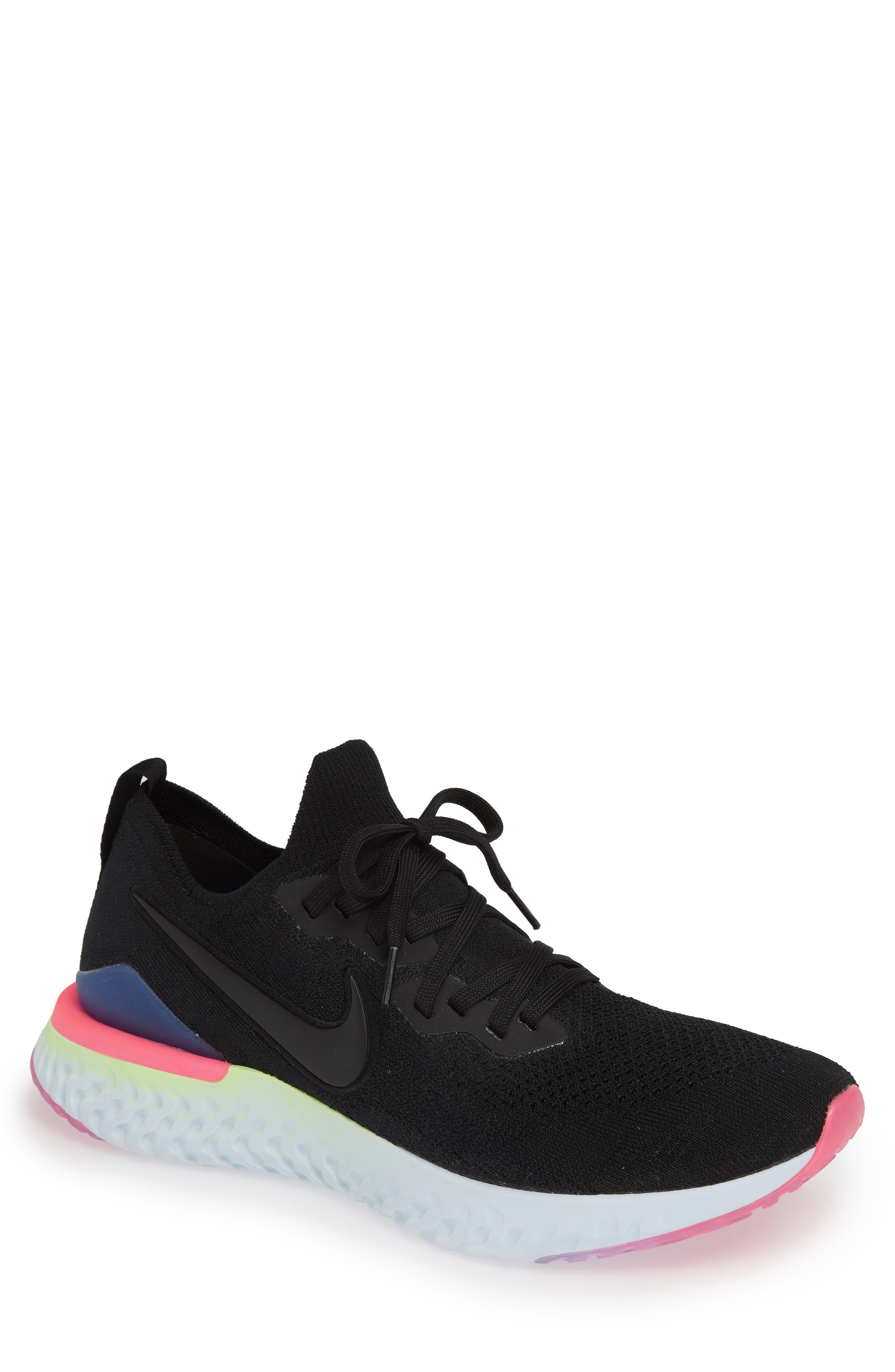 Epic React Flyknit 2 Running Shoe,                             Main thumbnail 1, color,                             BLACK/ SAPPHIRE/ LIME BLAST
