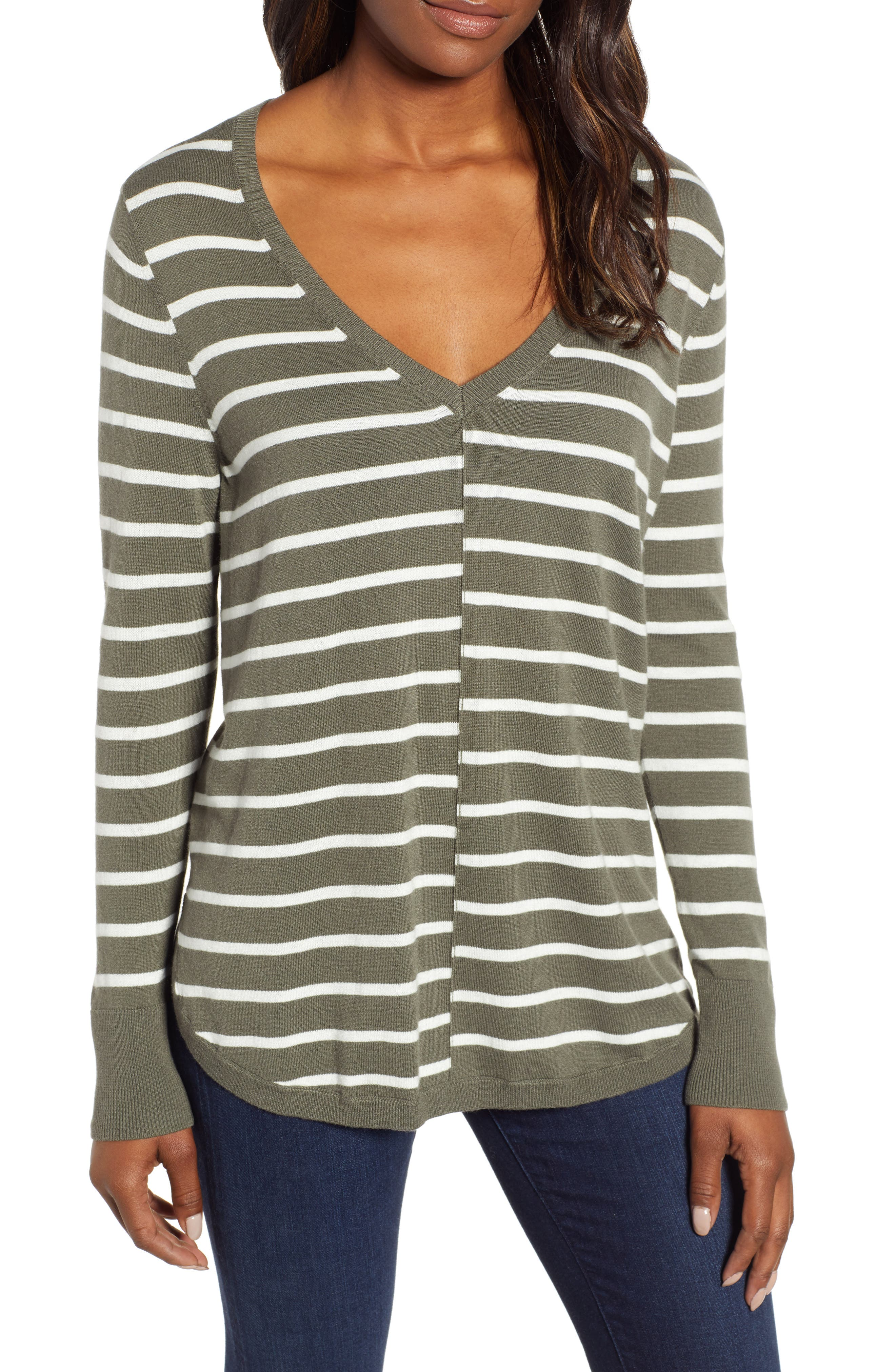 High-Low V-neck Sweater,                             Main thumbnail 1, color,                             GREEN- IVORY PRITHI STRIPE