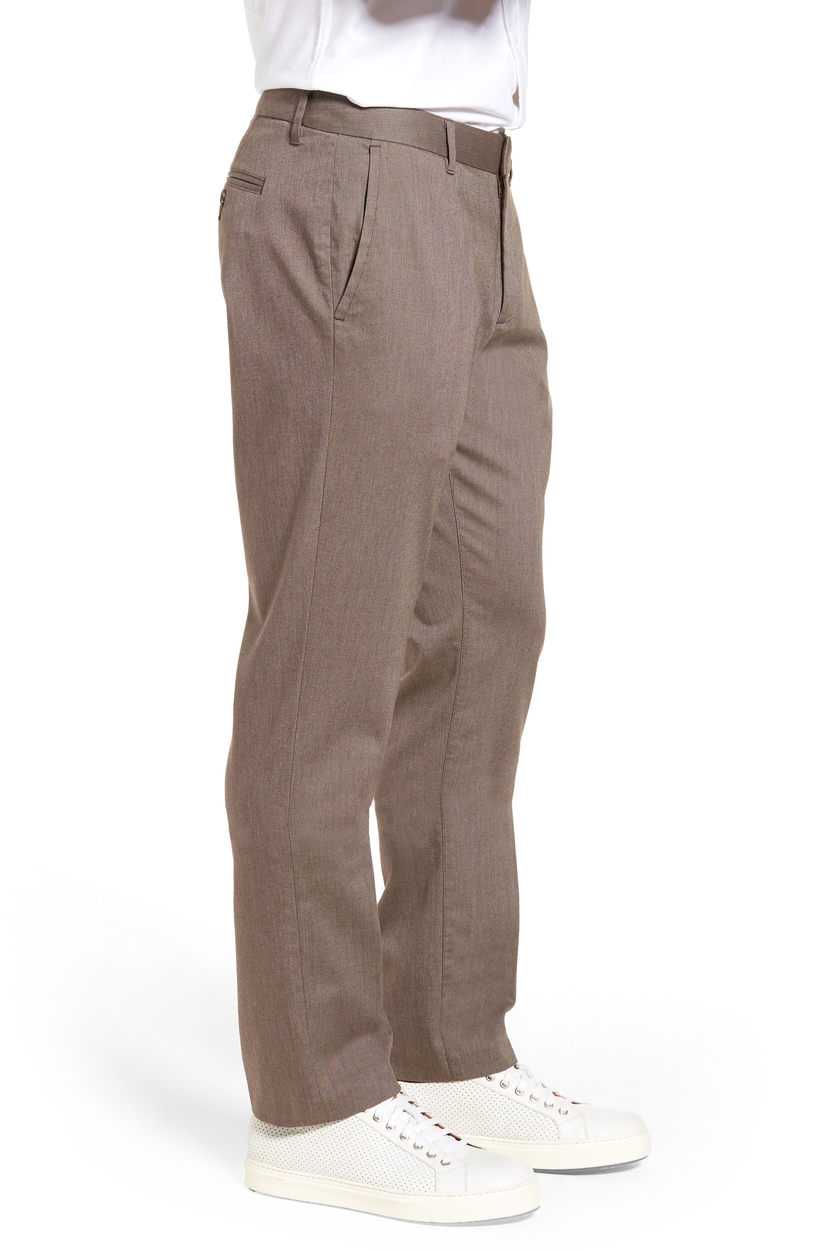Weekday Warrior Flat Front Stretch Cotton Pants,                             Alternate thumbnail 3, color,                             200