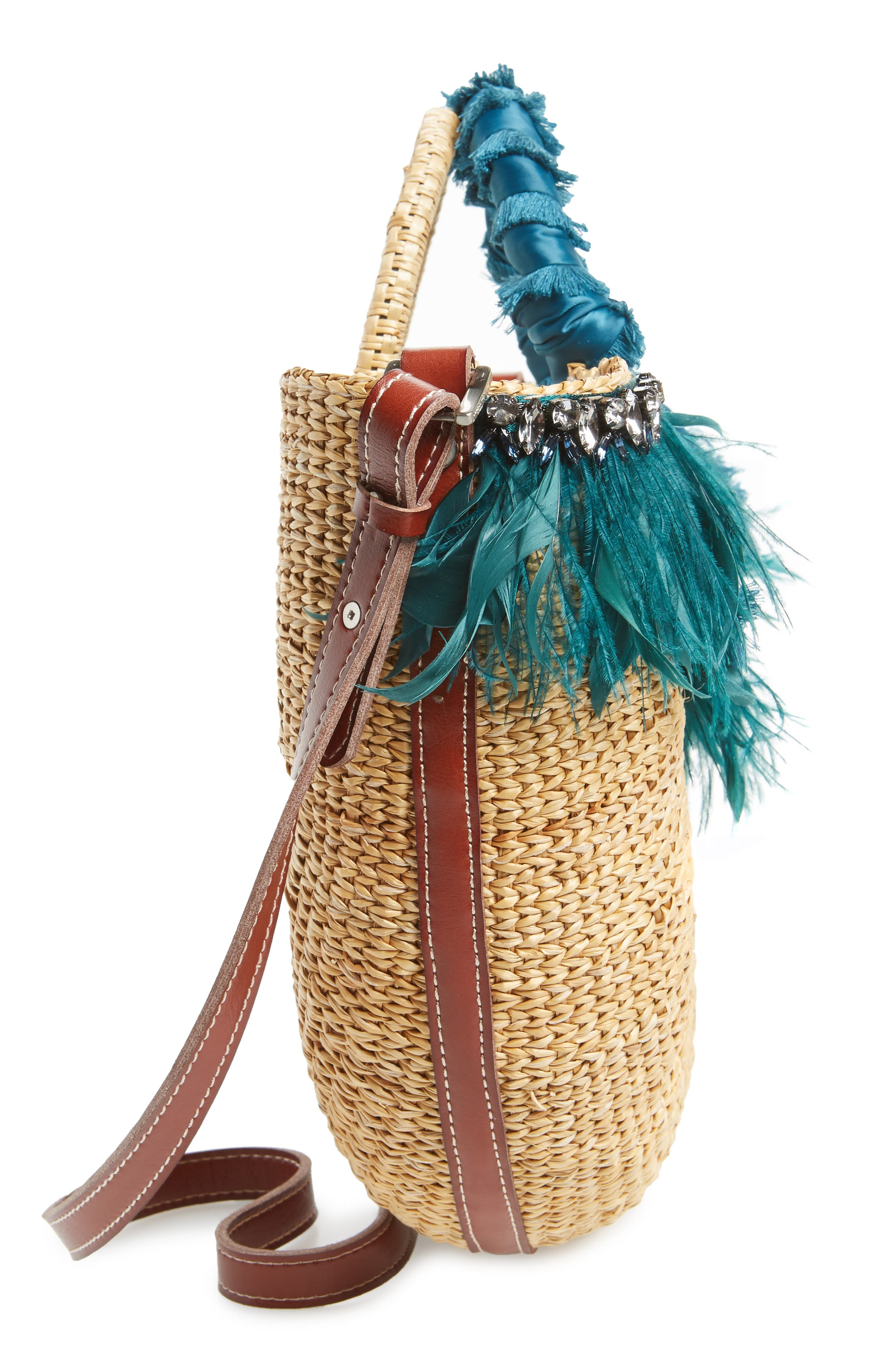 Eliya Feather Straw Tote,                             Alternate thumbnail 5, color,                             250