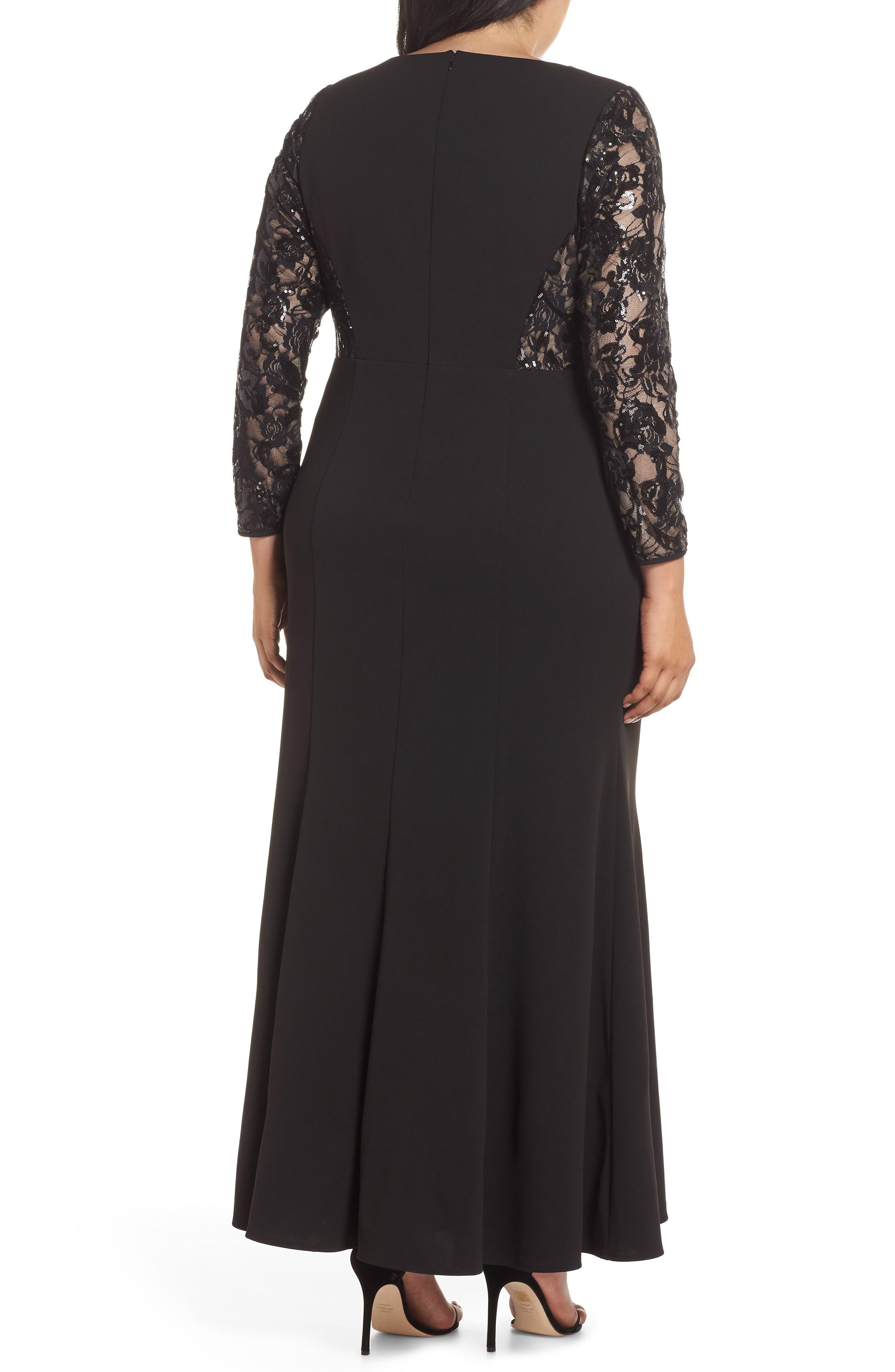 Lace Inset Gown,                             Alternate thumbnail 2, color,                             001