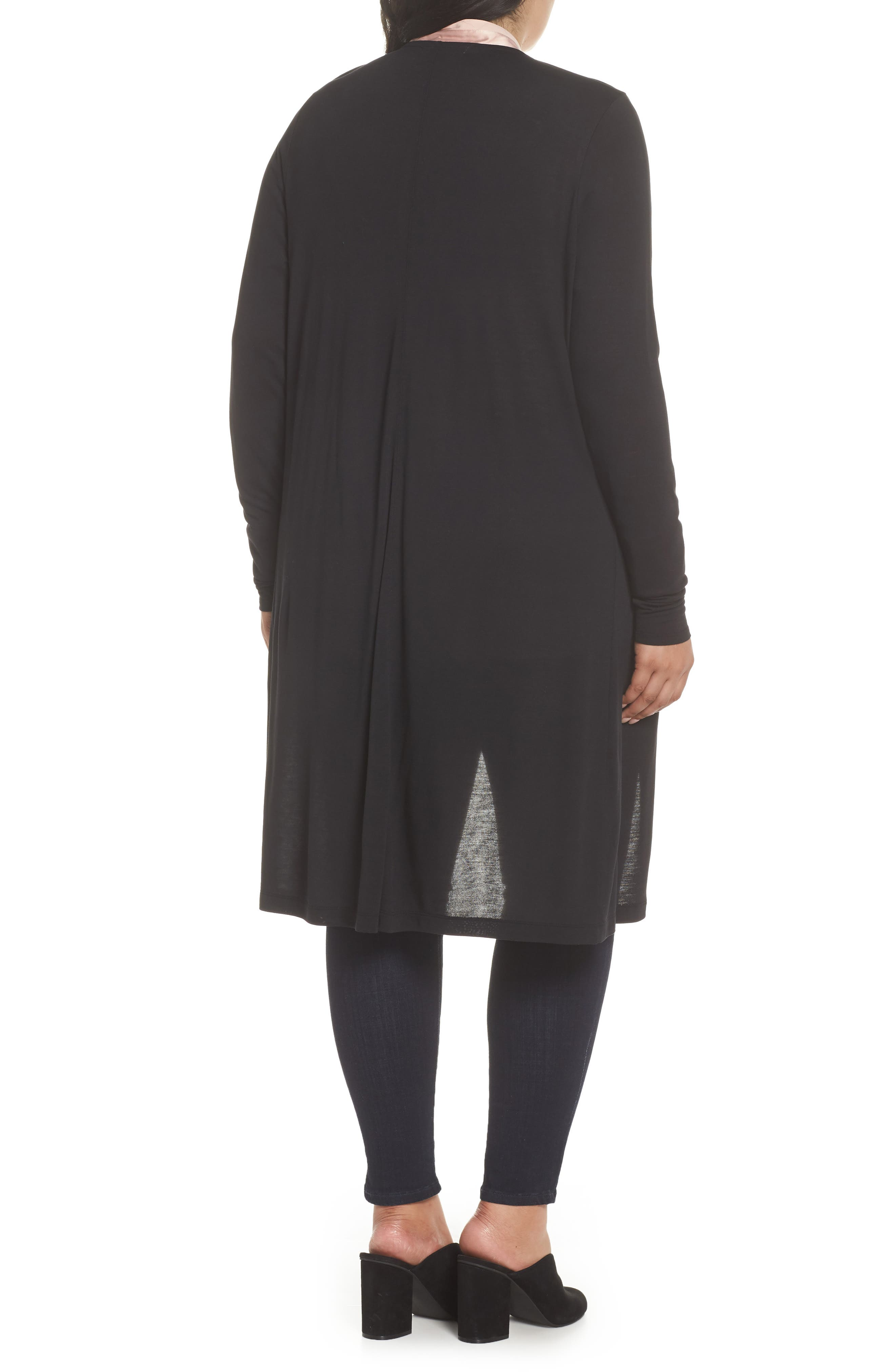 Longline Jersey Cardigan,                             Alternate thumbnail 2, color,                             001