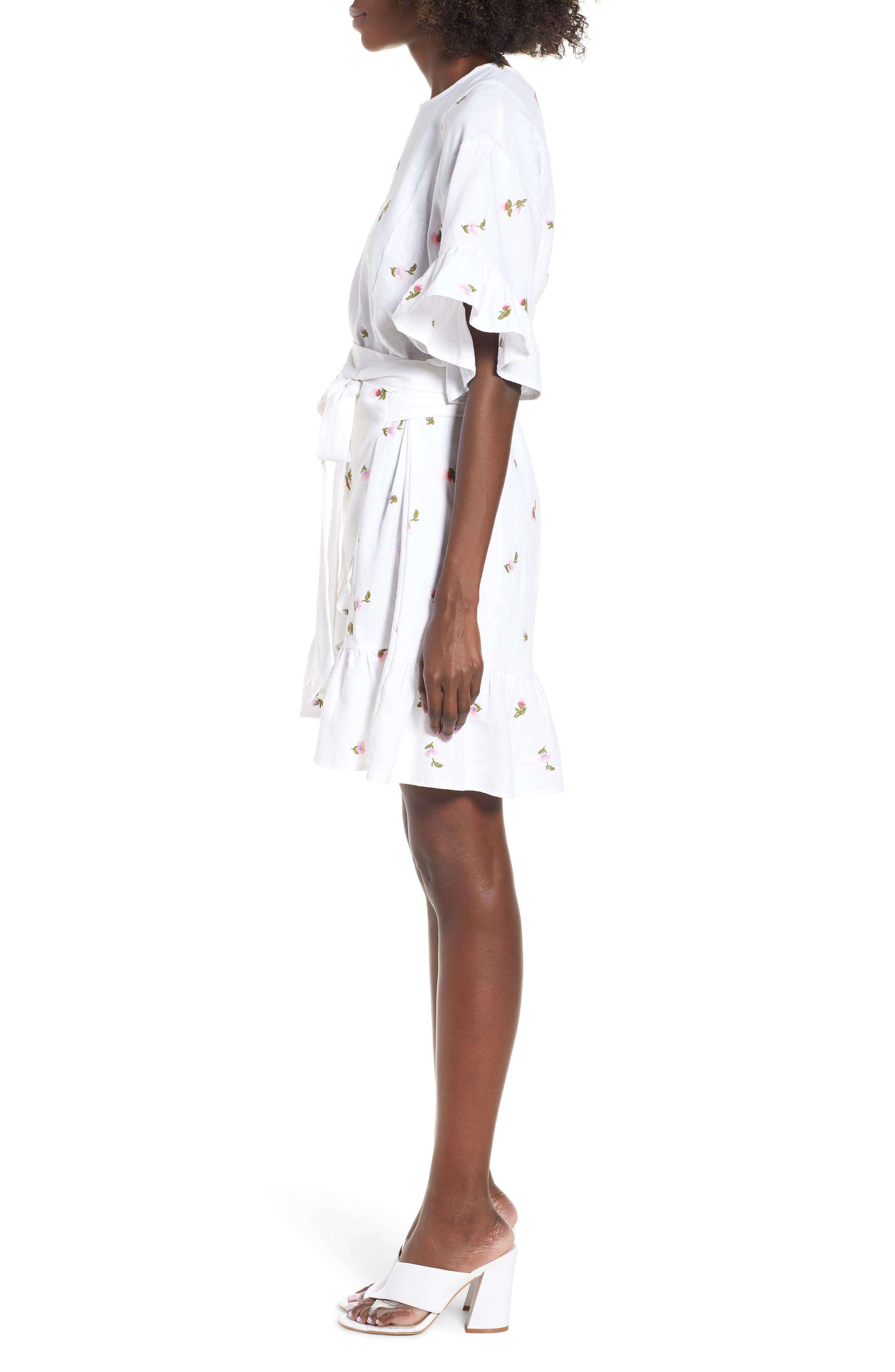 Tokyo Ruffle Sleeve Wrap Dress,                             Alternate thumbnail 3, color,                             DITSY EMBROIDERY