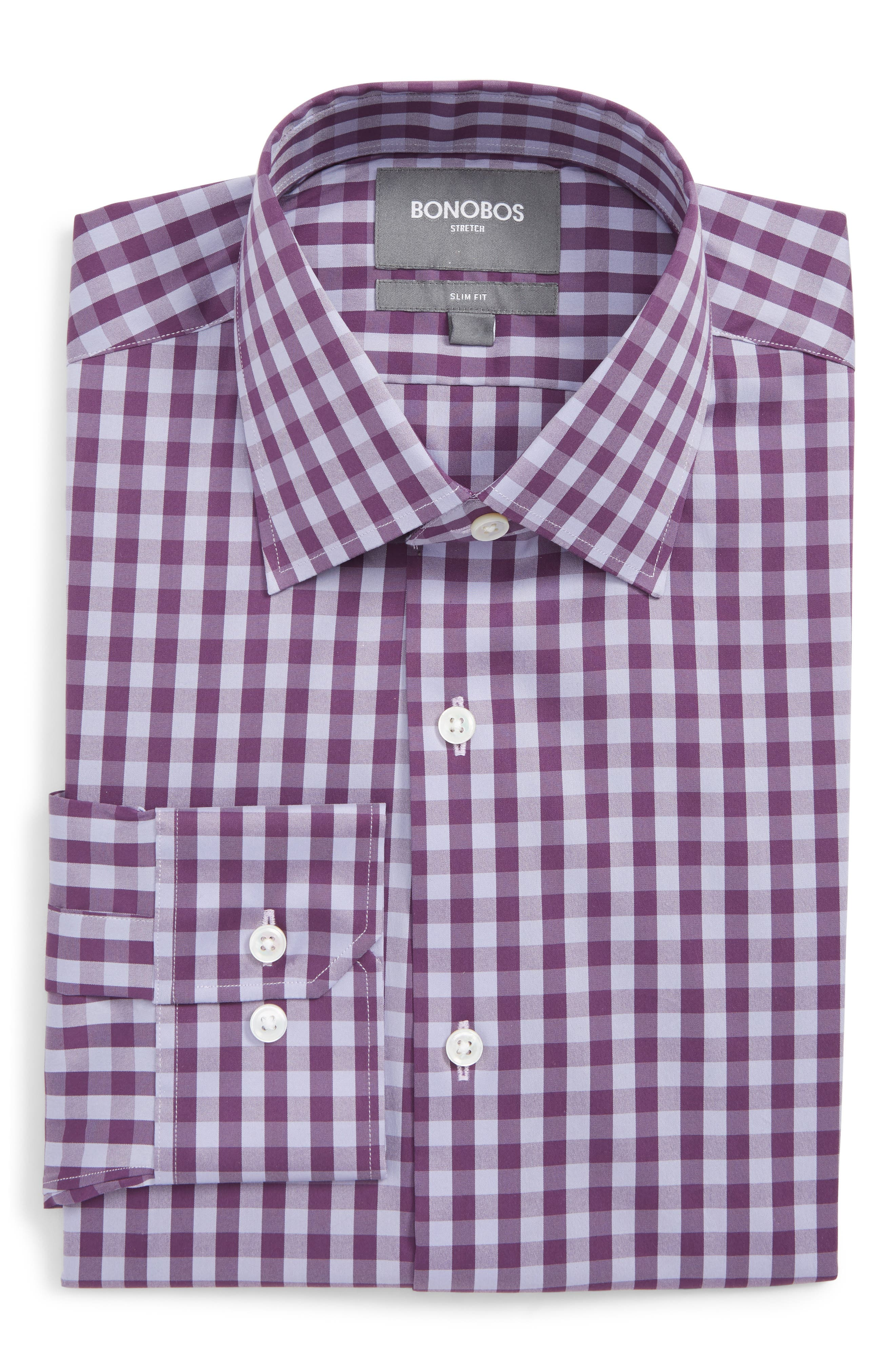 Port Grand Slim Fit Stretch Check Dress Shirt,                             Main thumbnail 1, color,                             GRAPESEED