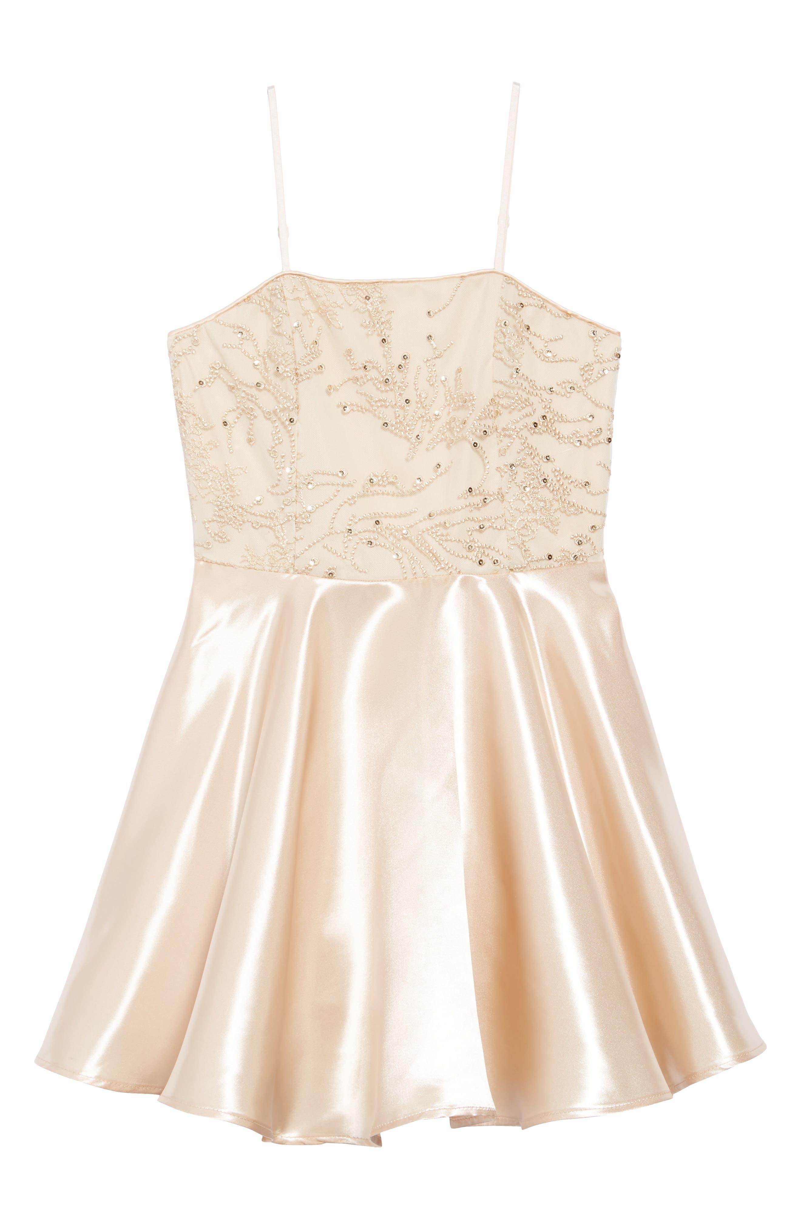 Embellished Satin Dress,                             Main thumbnail 1, color,                             GOLD