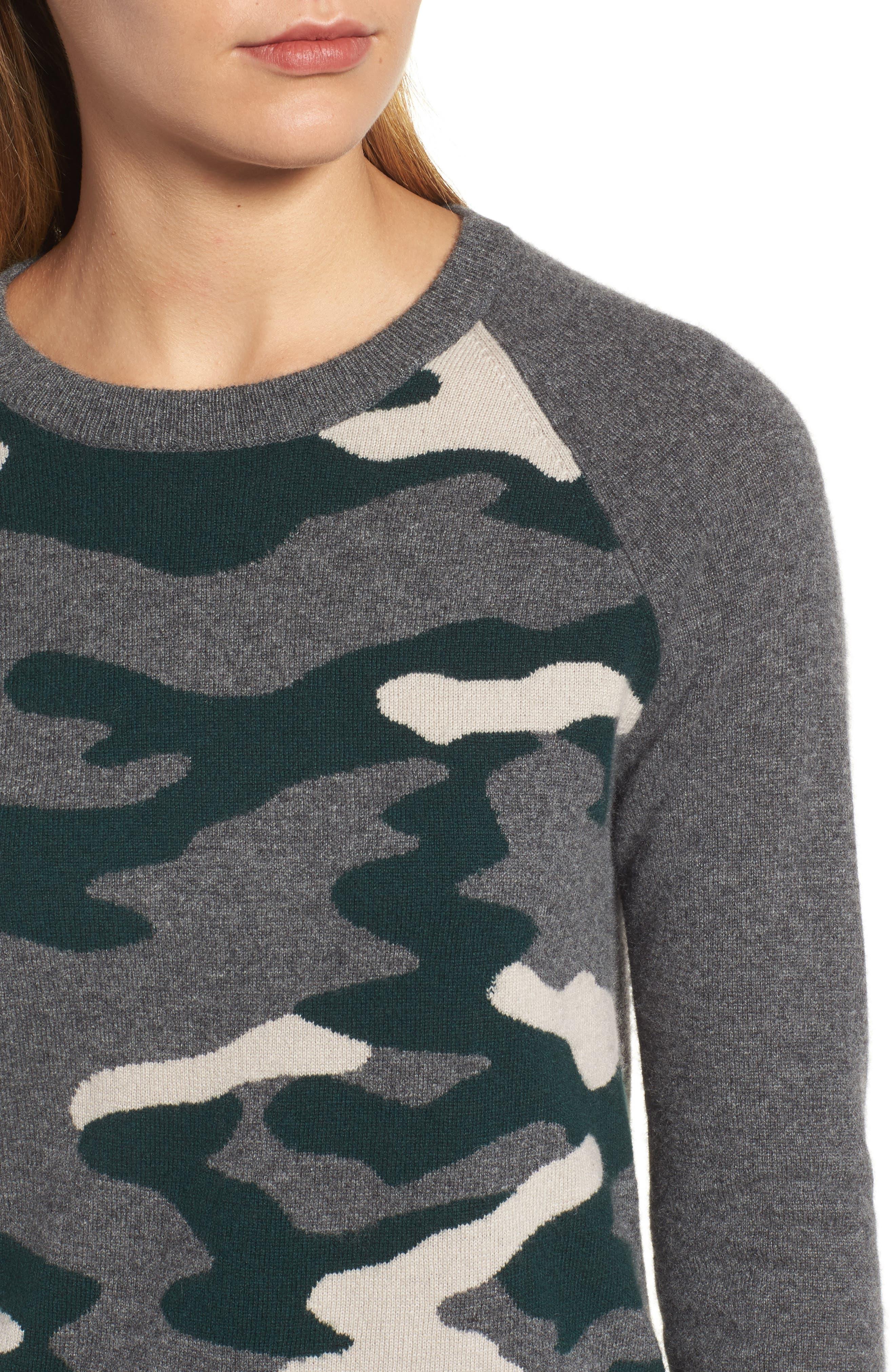 Camo Cashmere Sweater,                             Alternate thumbnail 4, color,