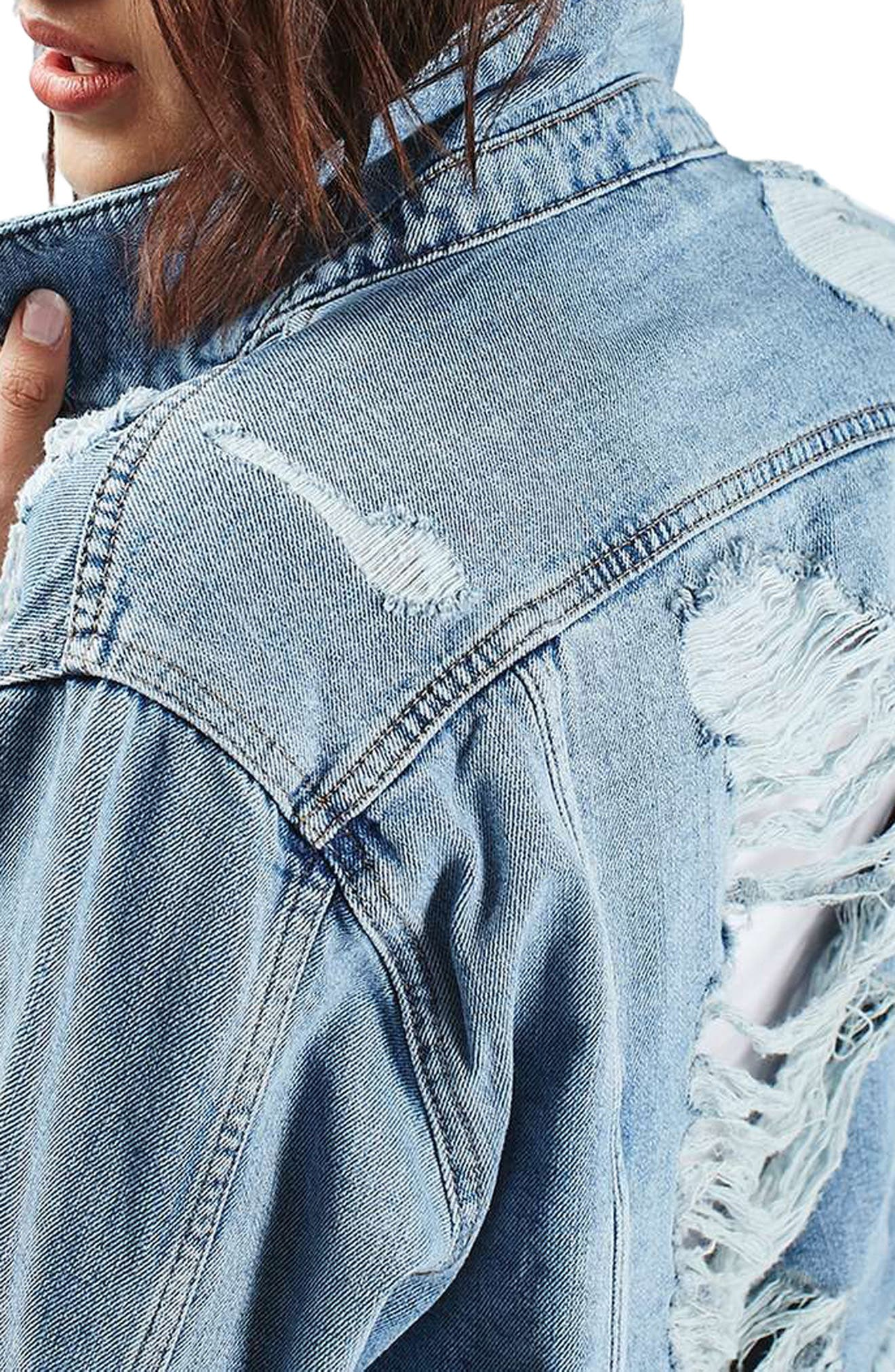 Moto Ripped Oversize Denim Jacket,                             Alternate thumbnail 3, color,                             400