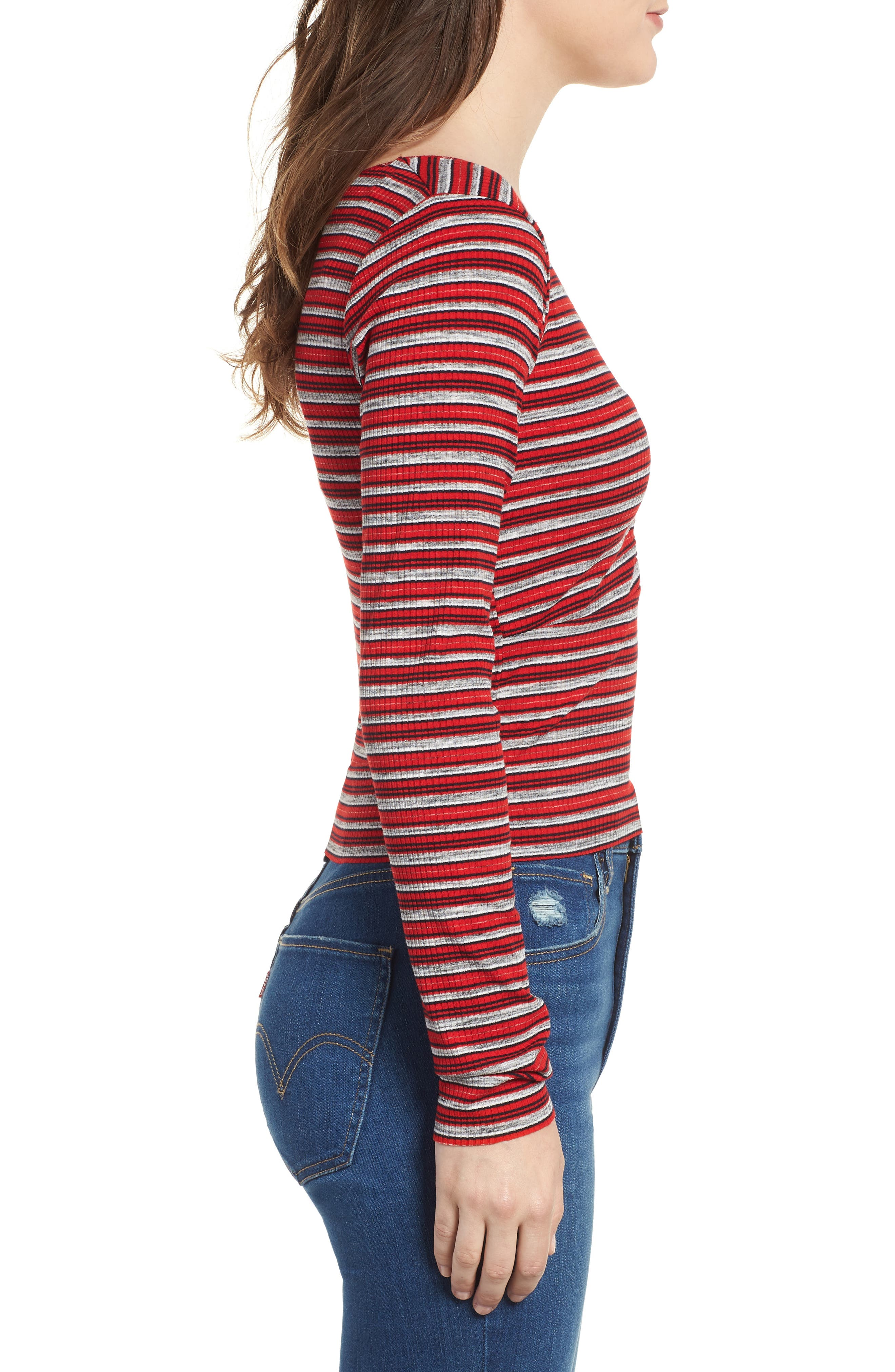 Multi Stripe Cinch Front Top,                             Alternate thumbnail 3, color,                             RED/ NAVY