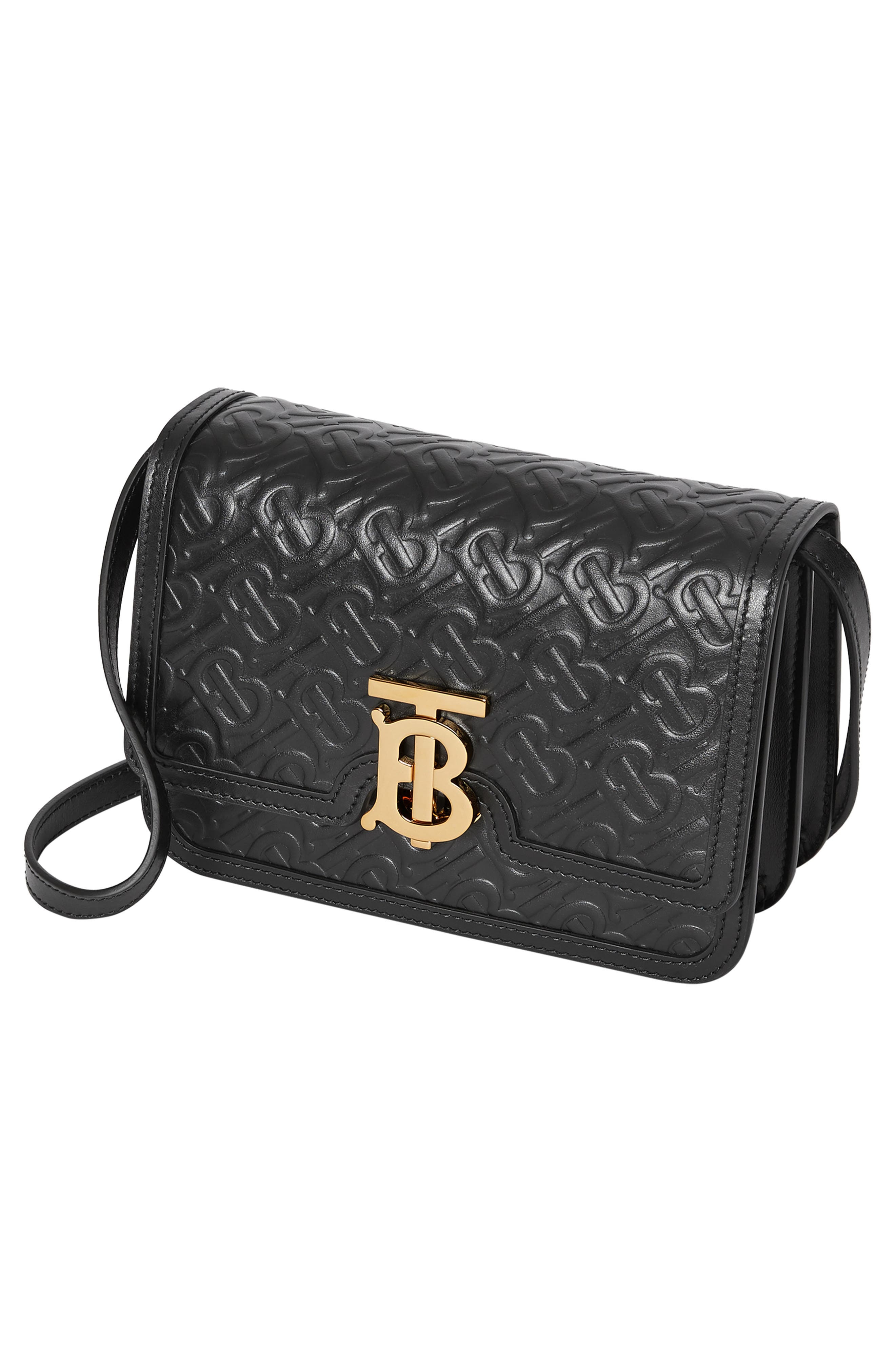 BURBERRY,                             Small Monogram Leather TB Bag,                             Alternate thumbnail 4, color,                             BLACK