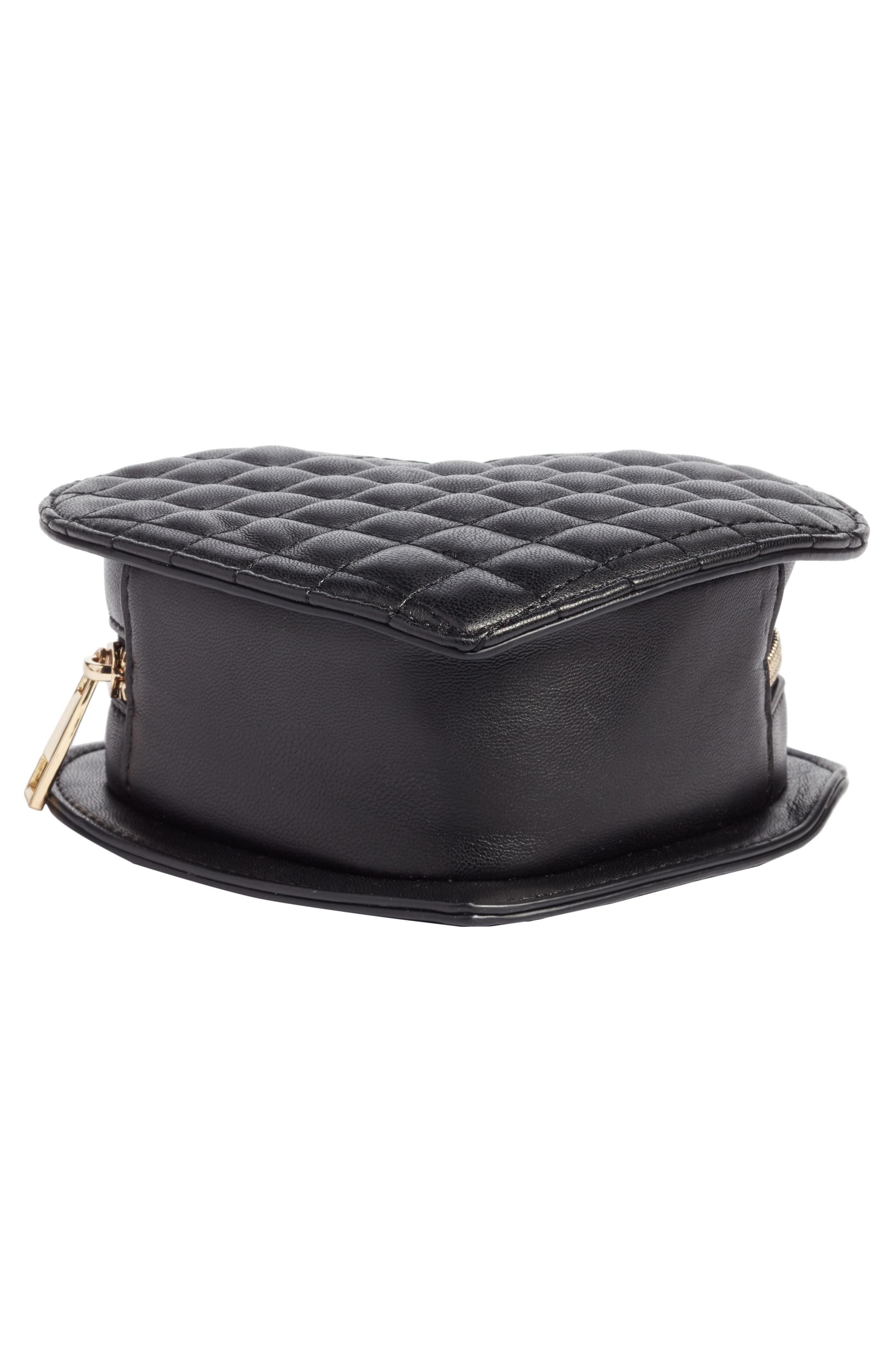 Mali + Lili Quilted Heart Vegan Leather Crossbody Bag,                             Alternate thumbnail 6, color,                             BLACK