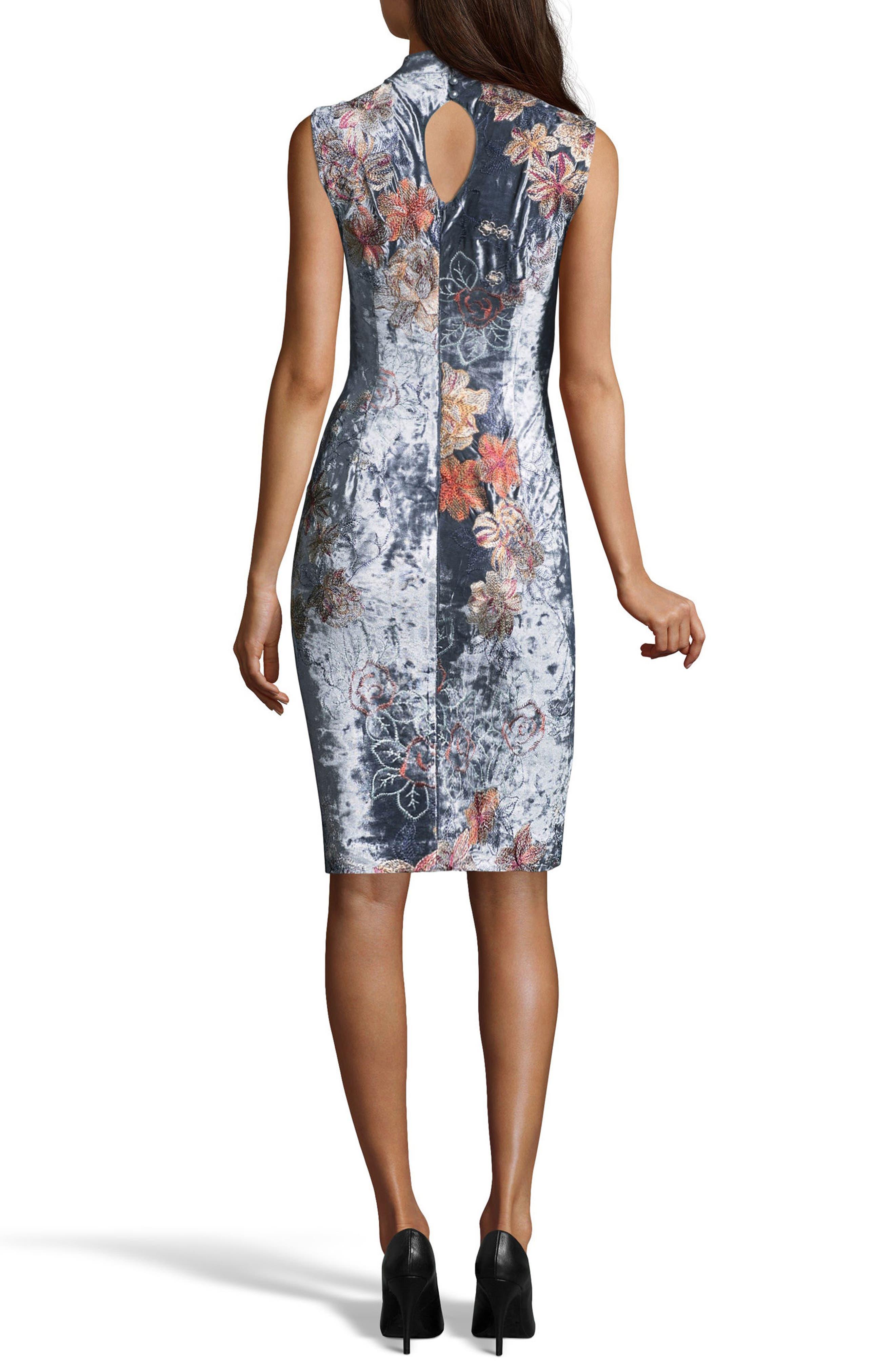 Crushed Velvet Sheath Dress,                             Alternate thumbnail 3, color,