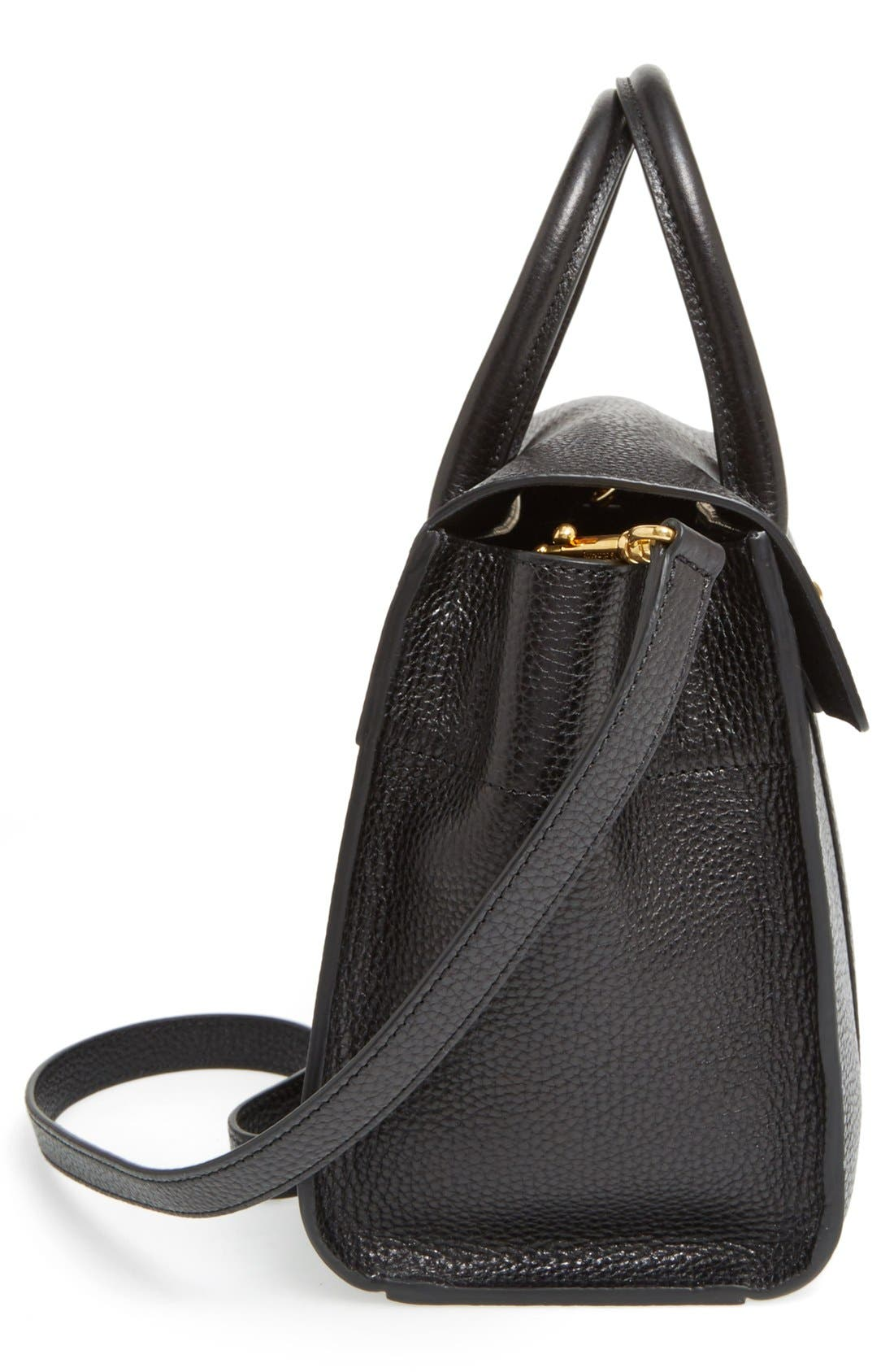 'Small Bayswater' Leather Satchel,                             Alternate thumbnail 5, color,                             001
