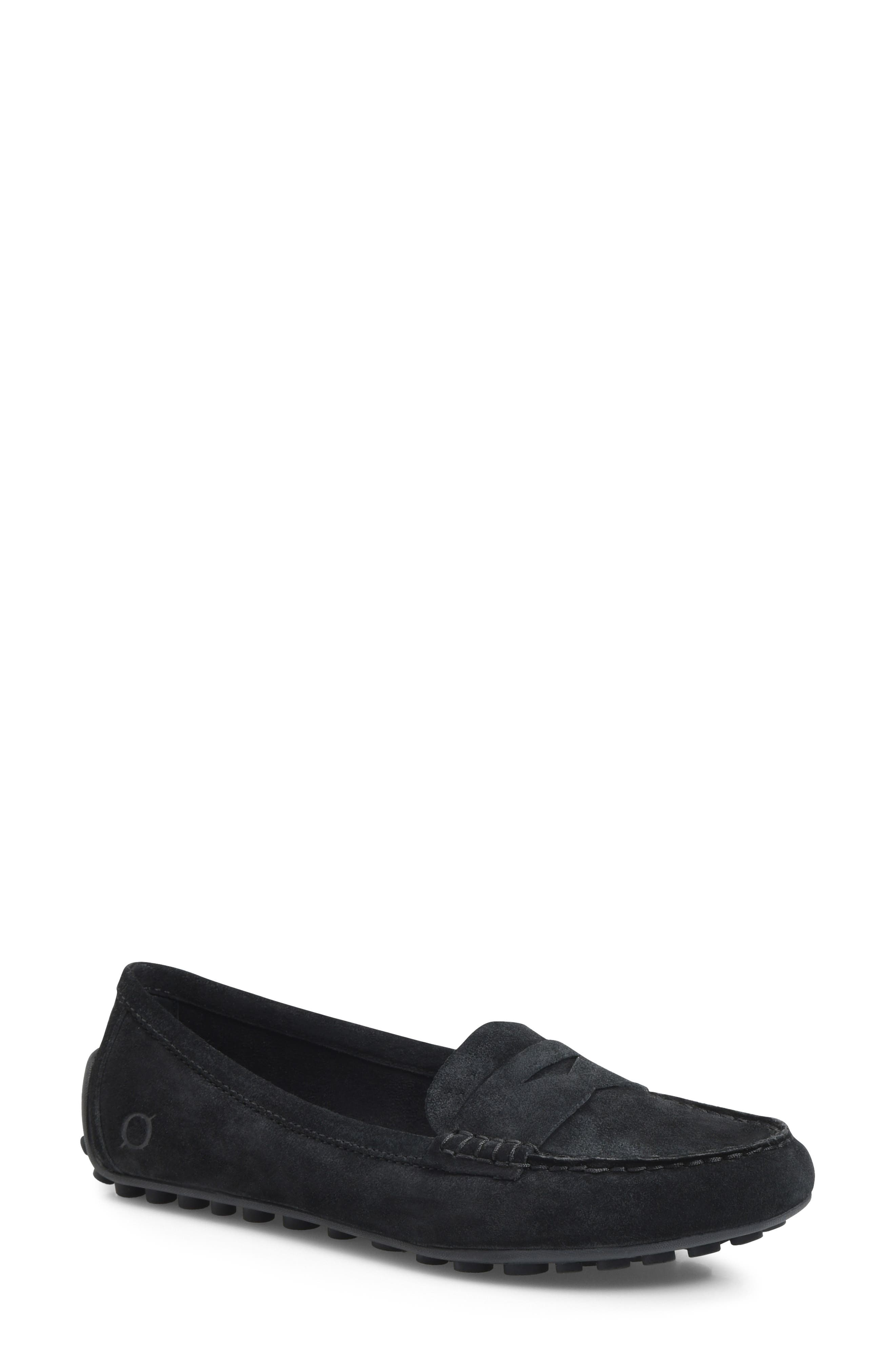 Malena Penny Loafer,                             Main thumbnail 1, color,                             BLACK SUEDE