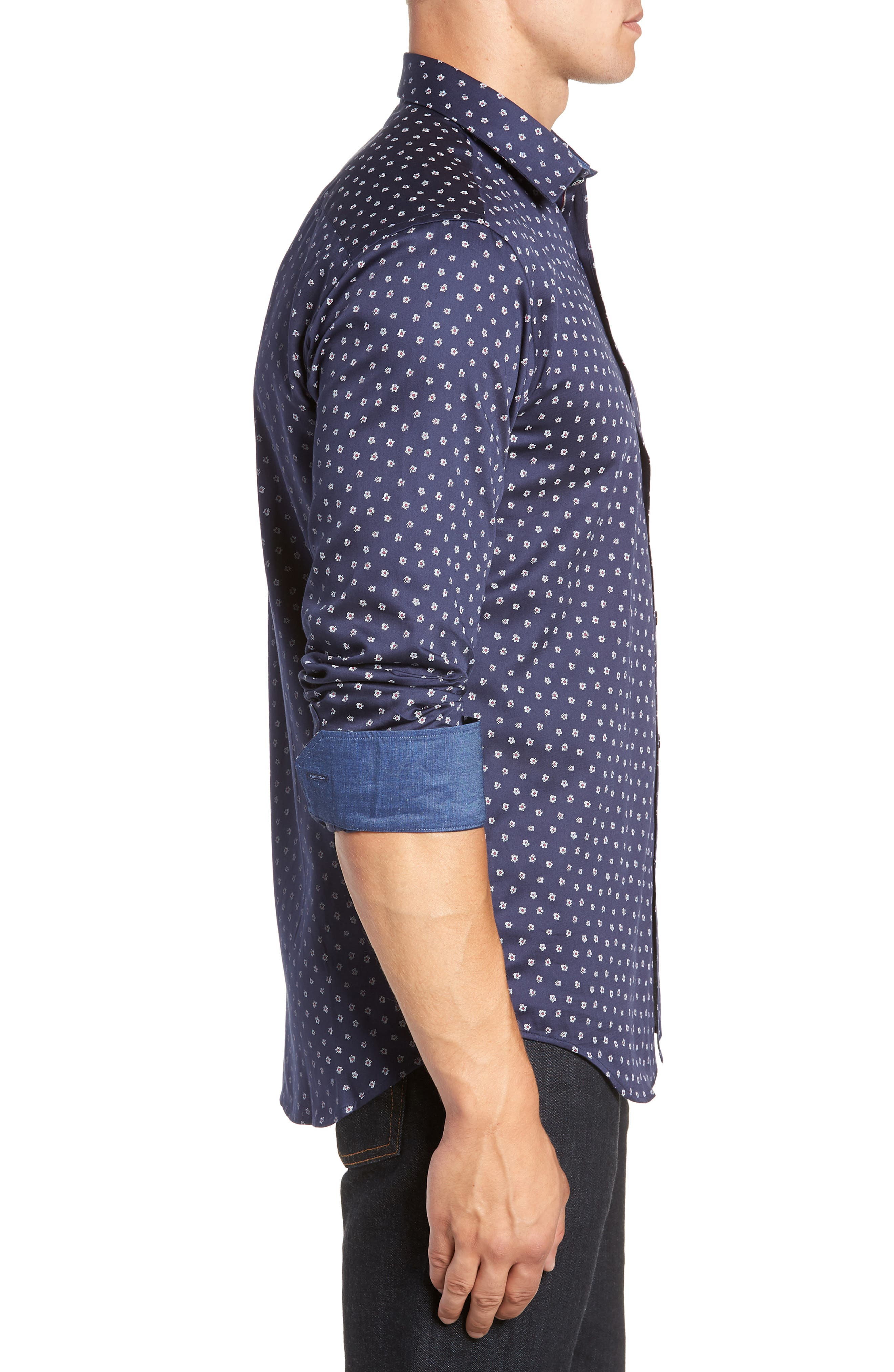 Shaped Fit Flower Print Sport Shirt,                             Alternate thumbnail 4, color,                             MIDNIGHT