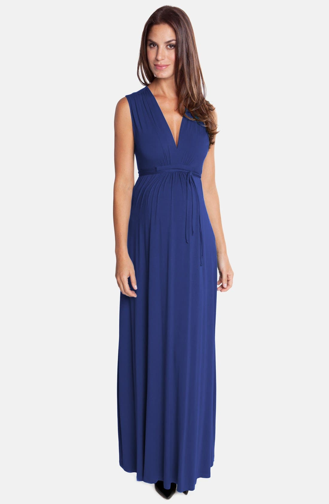 Lucy Maternity Maxi Dress,                         Main,                         color, TRUE BLUE