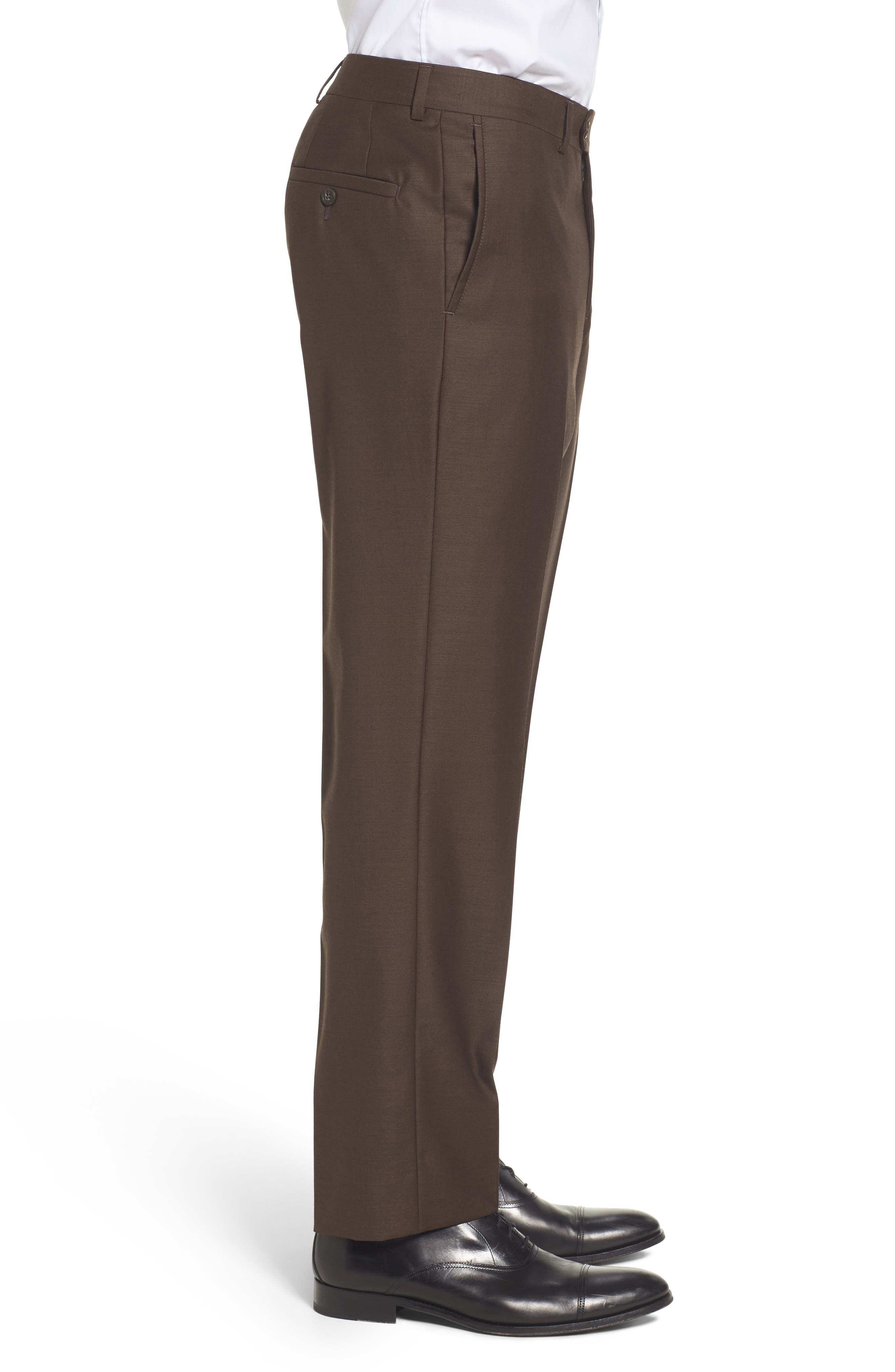 Flat Front Solid Wool Trousers,                             Alternate thumbnail 22, color,