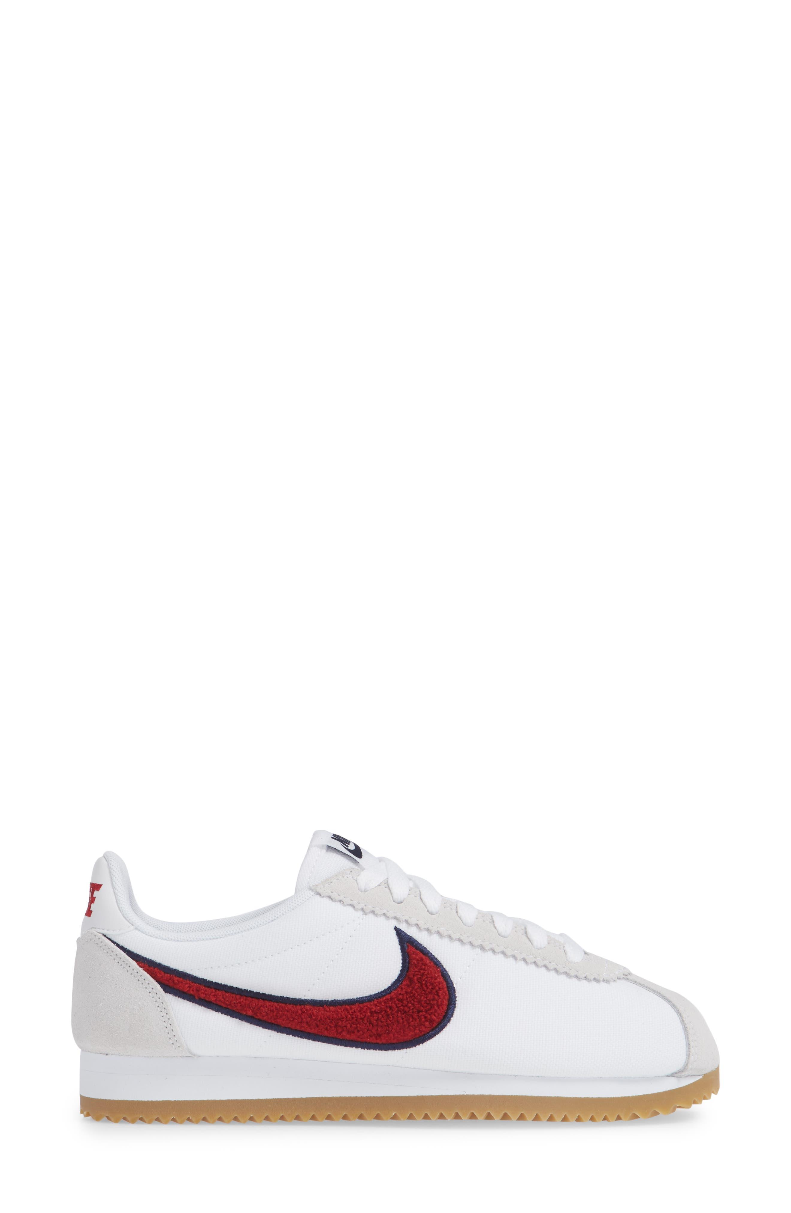 Classic Cortez Premium XLV Sneaker,                             Alternate thumbnail 3, color,                             WHITE/ RED CRUSH/ LIGHT BROWN