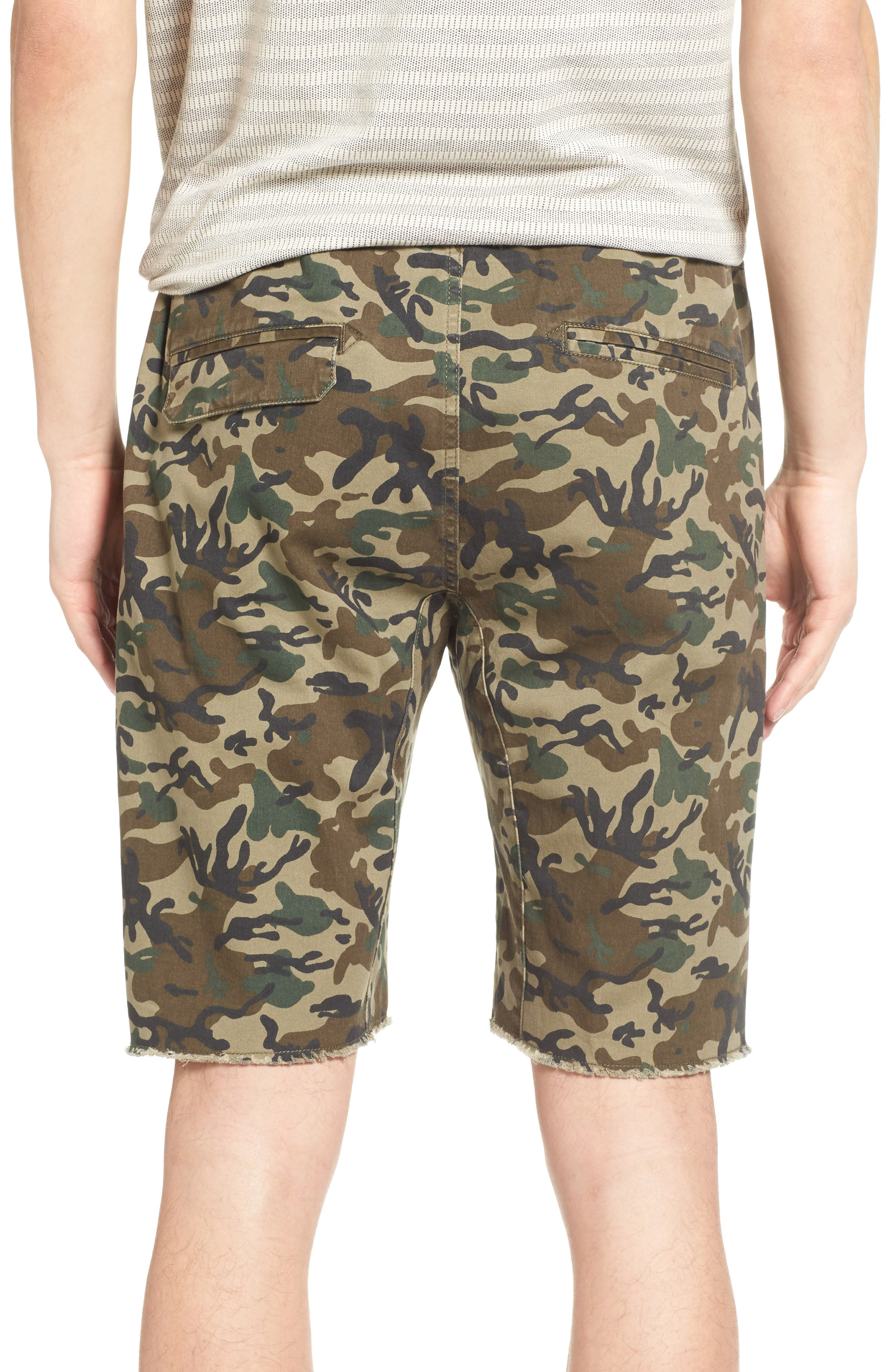 Camo Print Cutoff Twill Shorts,                             Alternate thumbnail 4, color,