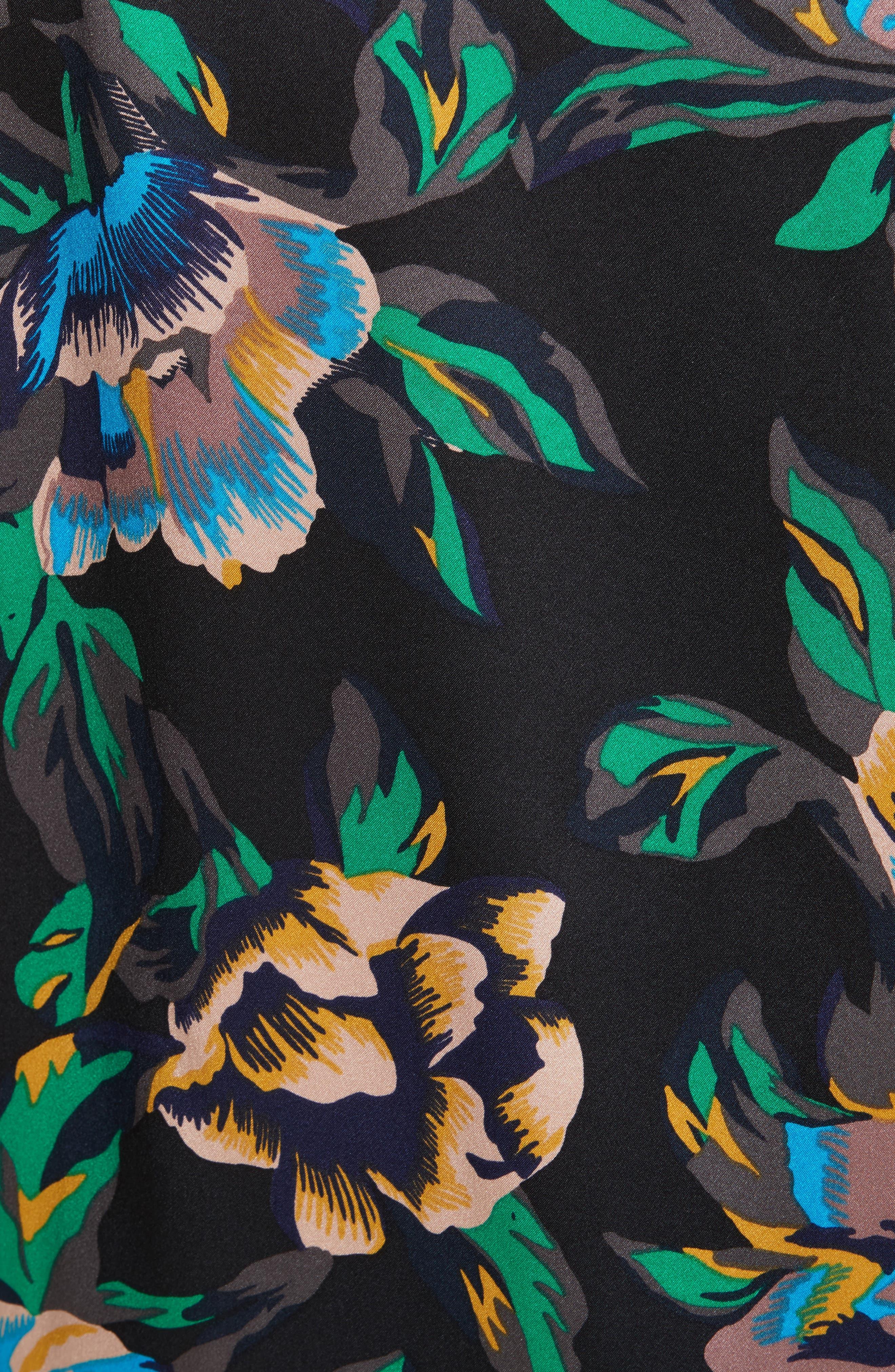 Mixed Media Crossover Silk Dress,                             Alternate thumbnail 5, color,                             442