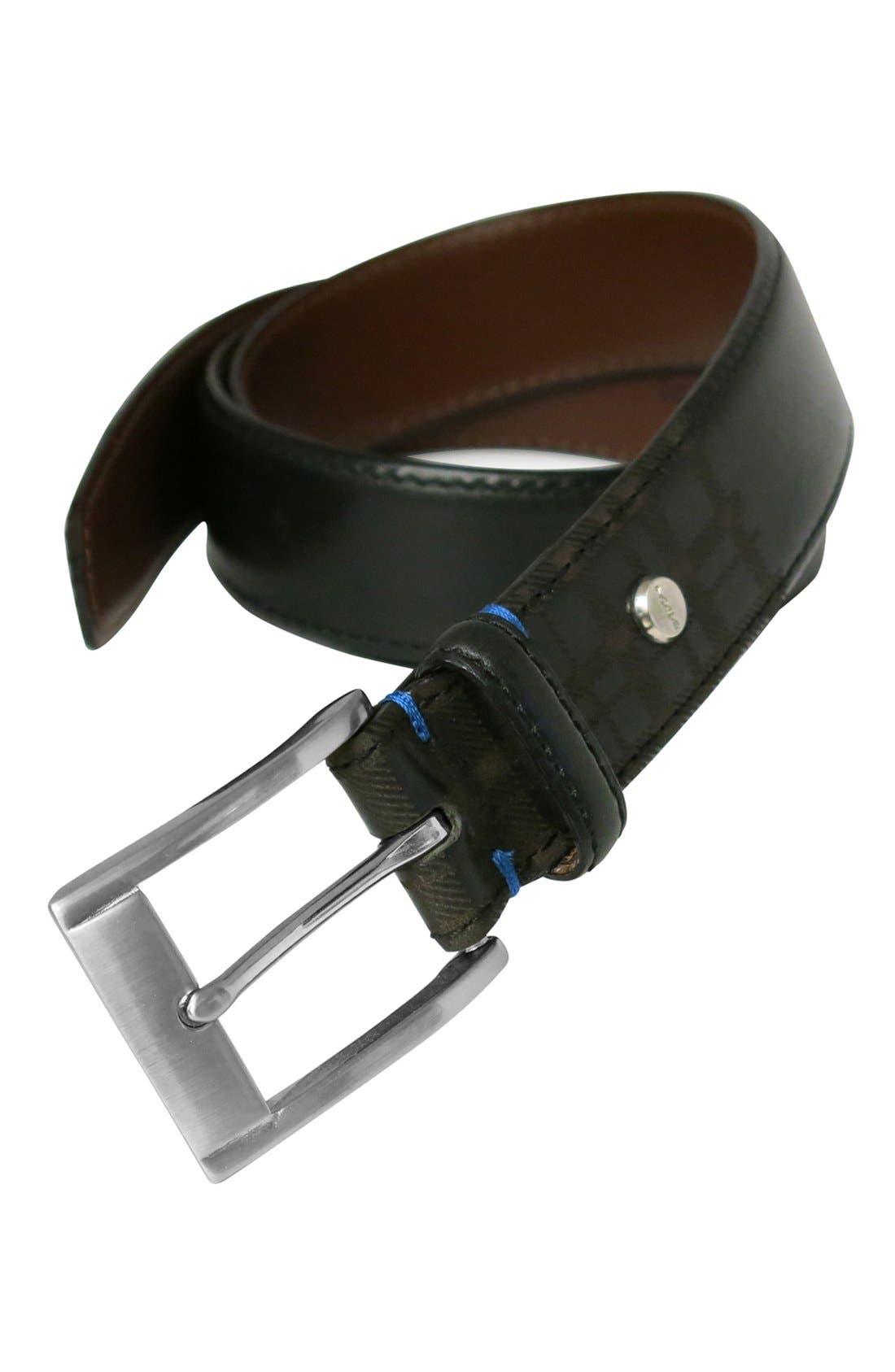 Collins Leather Belt,                             Alternate thumbnail 5, color,                             BLACK