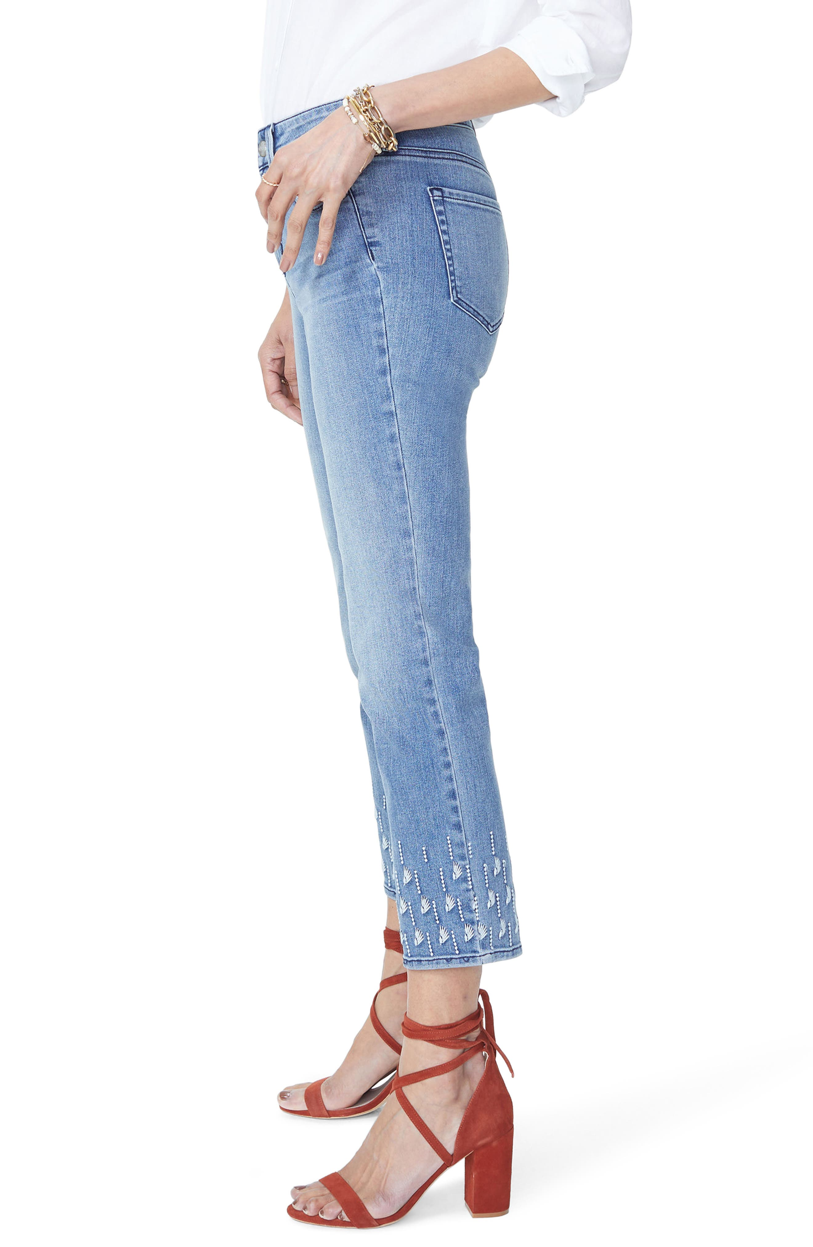 NYDJ,                             Sheri Embroidered Stretch Slim Ankle Jeans,                             Alternate thumbnail 3, color,                             POINT DUME