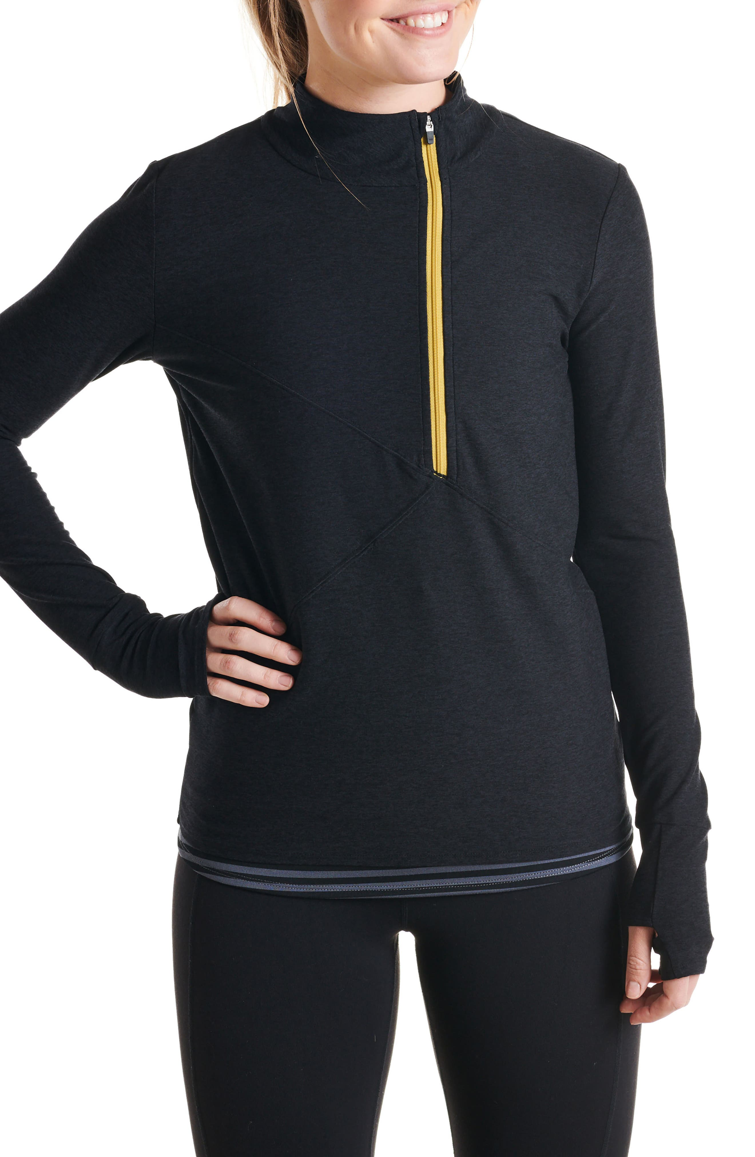 Homerun Half Zip Pullover,                         Main,                         color, BLACK/ BLACK