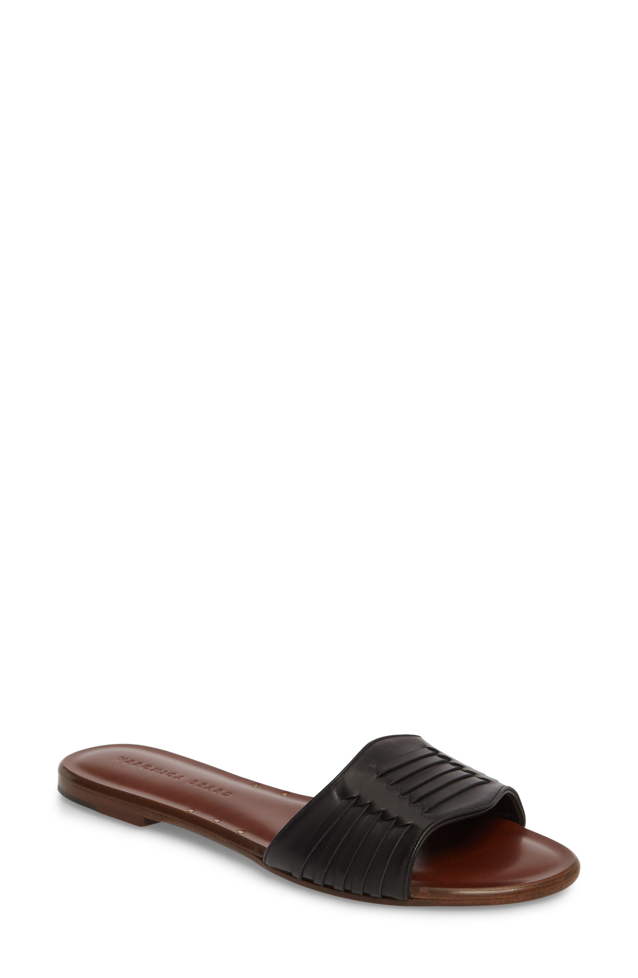 Faven Woven Slide Sandal,                             Main thumbnail 1, color,                             001