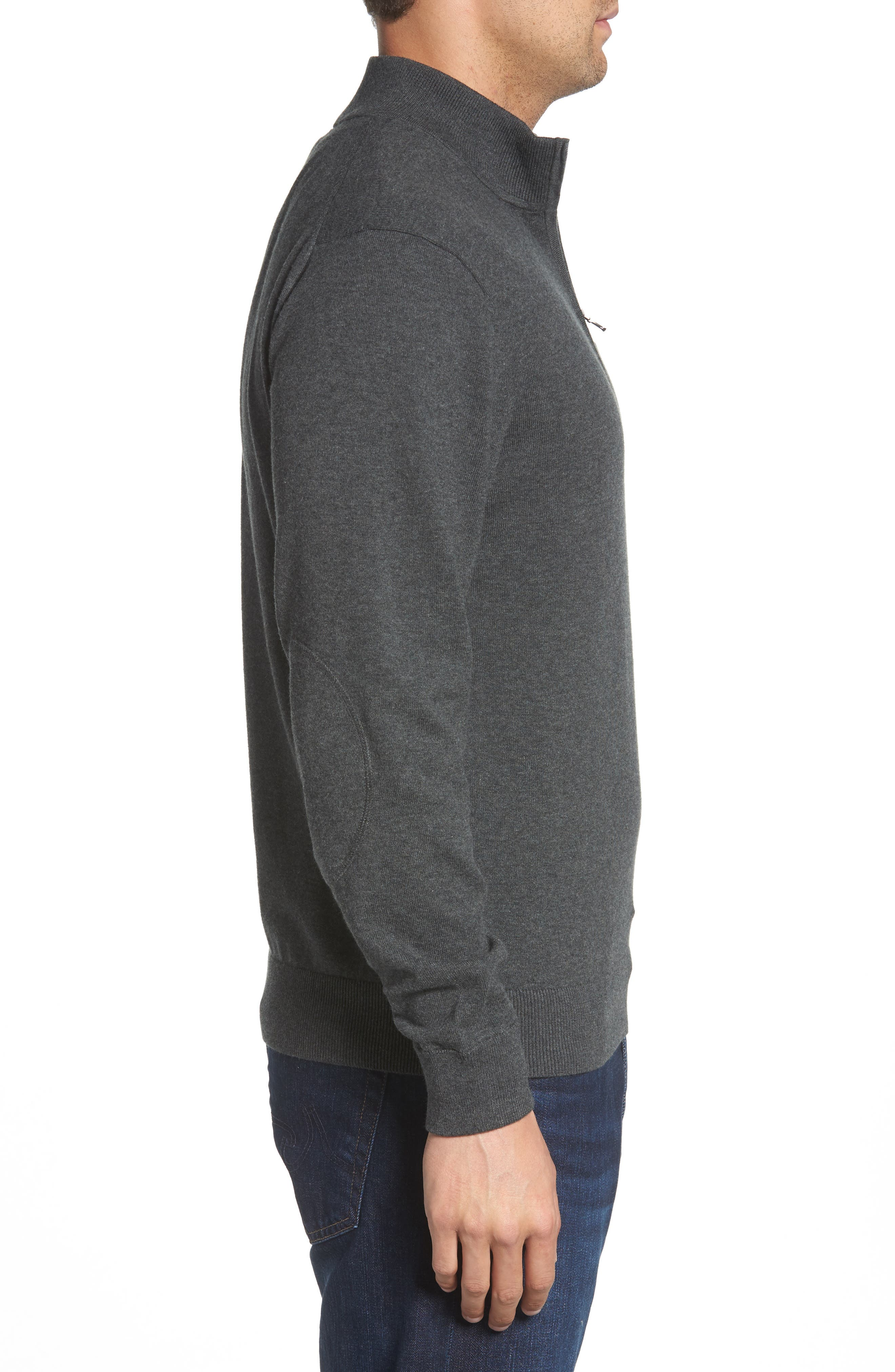 CUTTER & BUCK,                             Indianapolis Colts - Lakemont Regular Fit Quarter Zip Sweater,                             Alternate thumbnail 3, color,                             CHARCOAL HEATHER